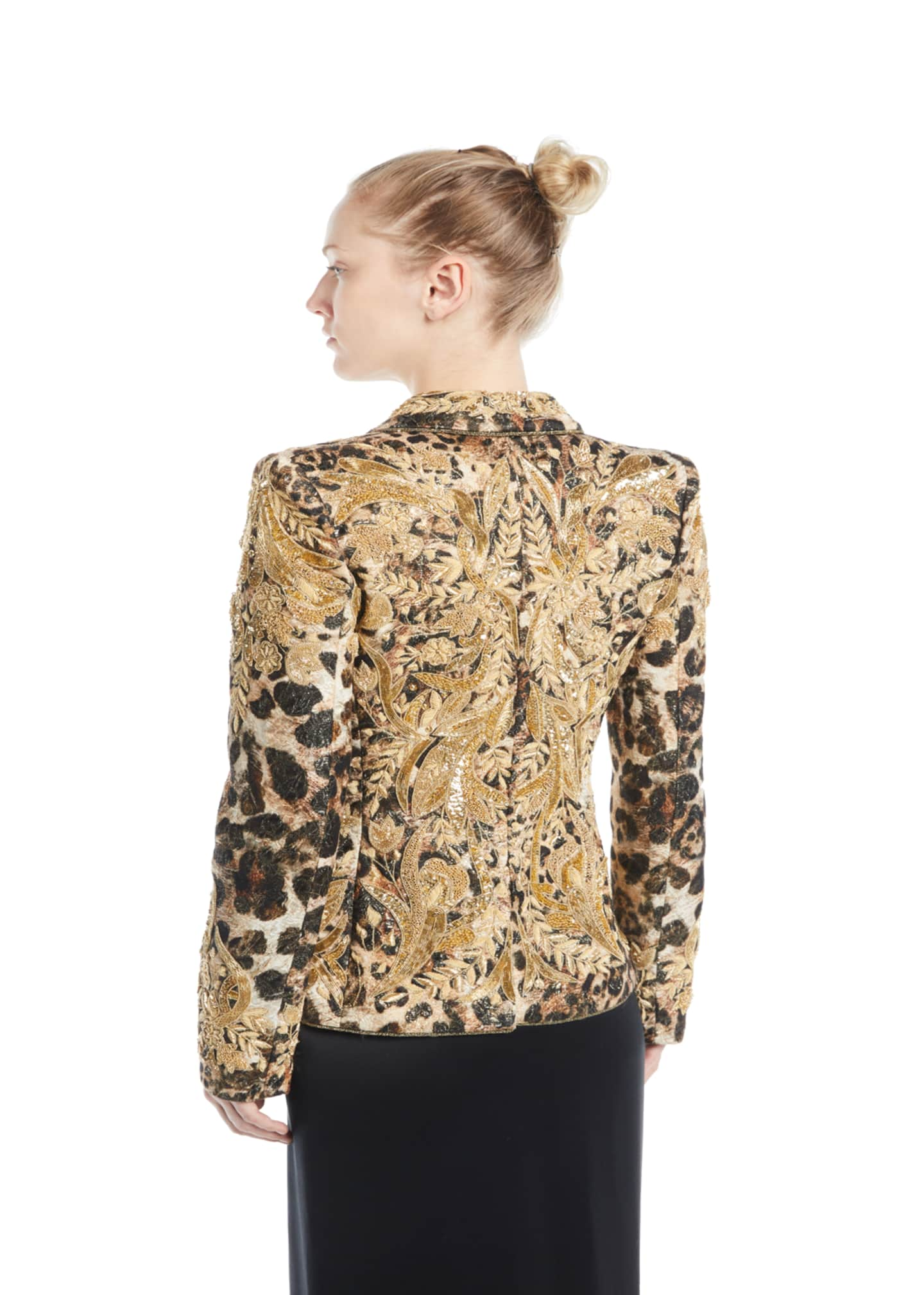 Image 3 of 3: Animal-Print Beaded Jacquard Jacket