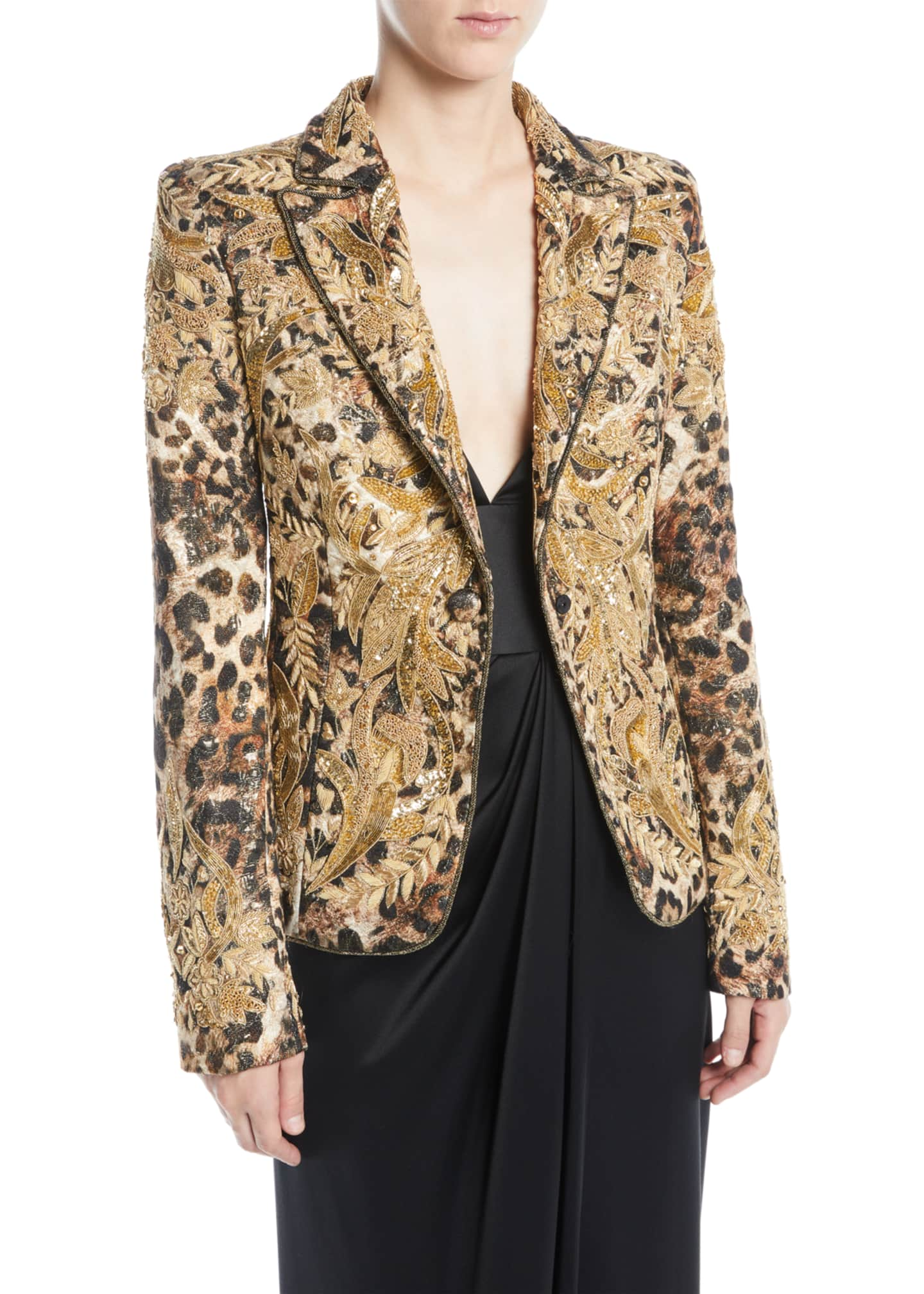 Image 1 of 3: Animal-Print Beaded Jacquard Jacket