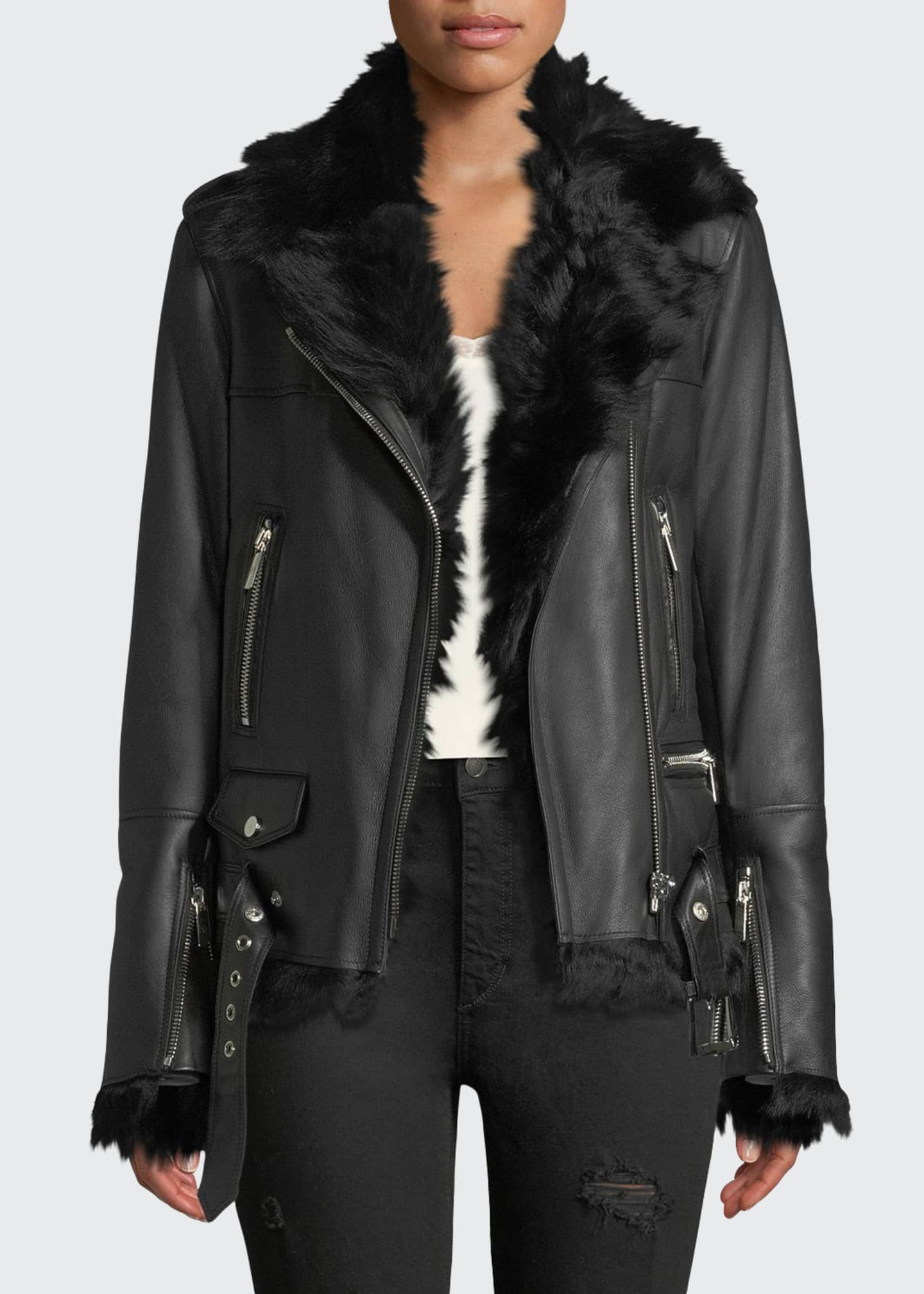 Nour Hammour Shearling-Lined Lace-Up Sides Lamb Leather Jacket
