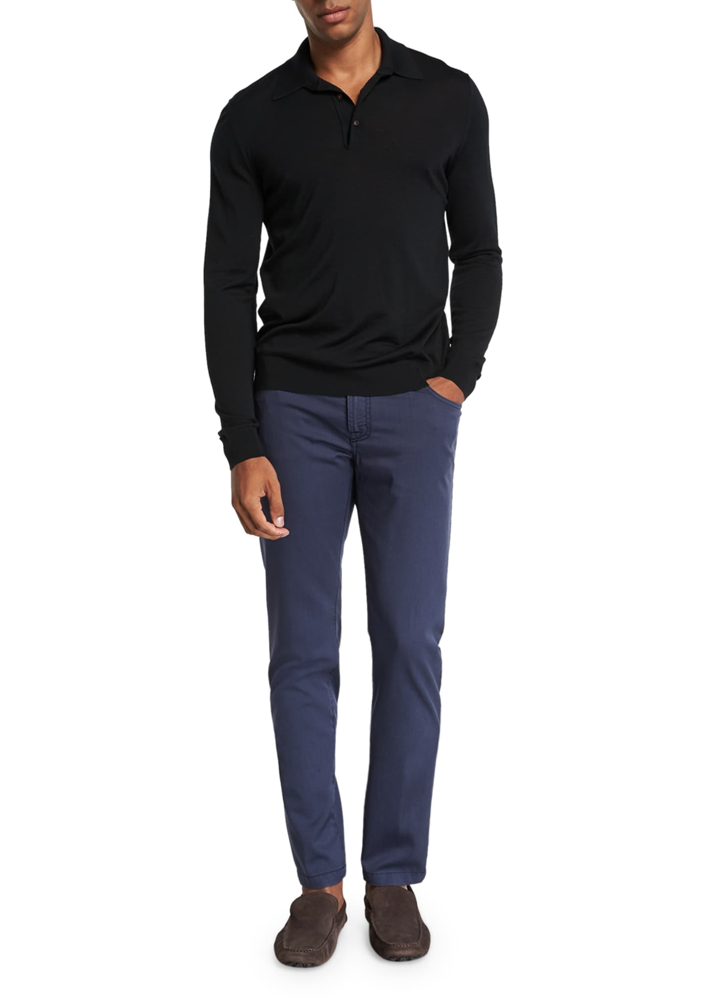 Image 3 of 3: Men's Washed Wool Straight-Leg Pants