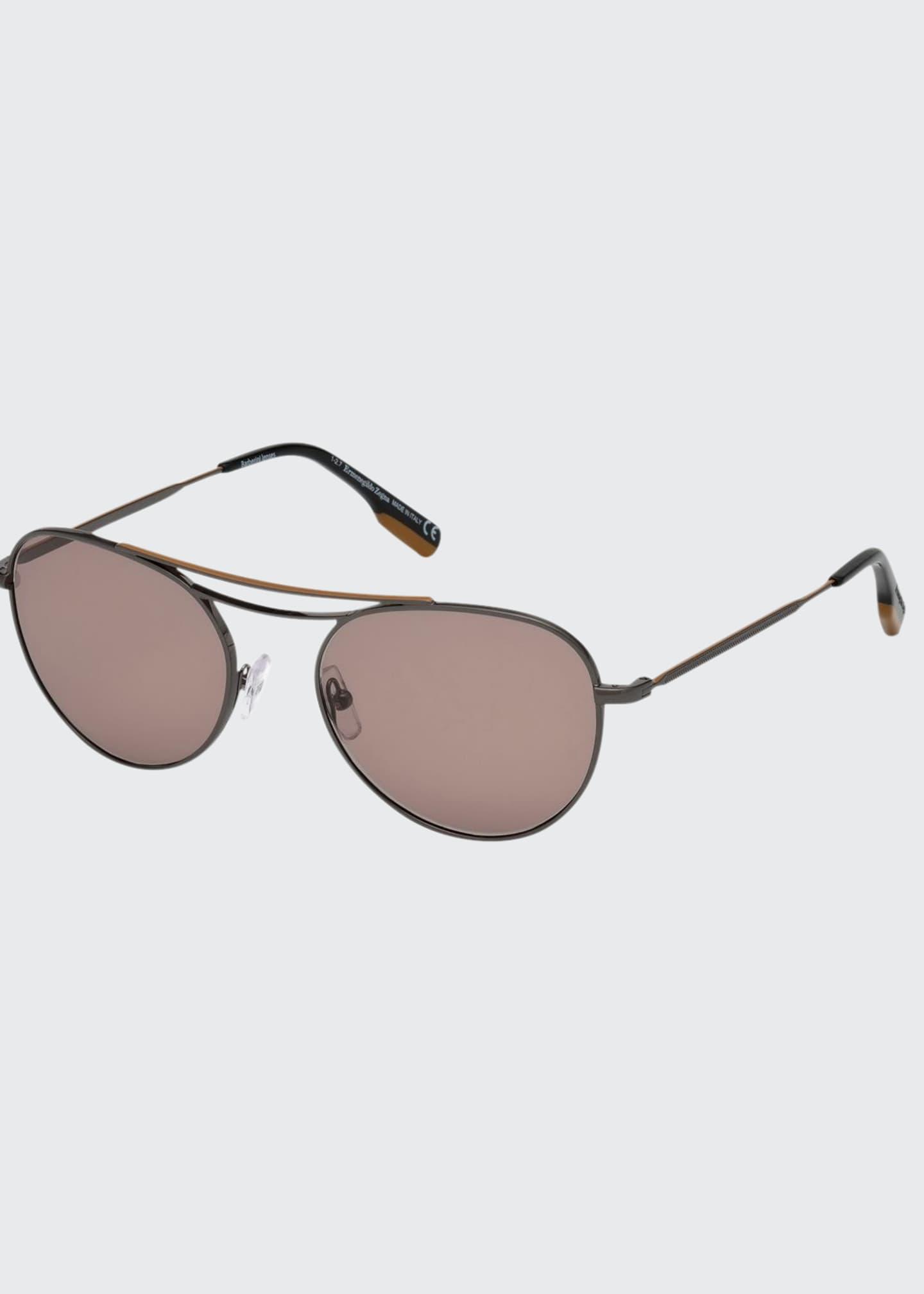 Ermenegildo Zegna Men's Two-Tone Metal Aviator Sunglasses