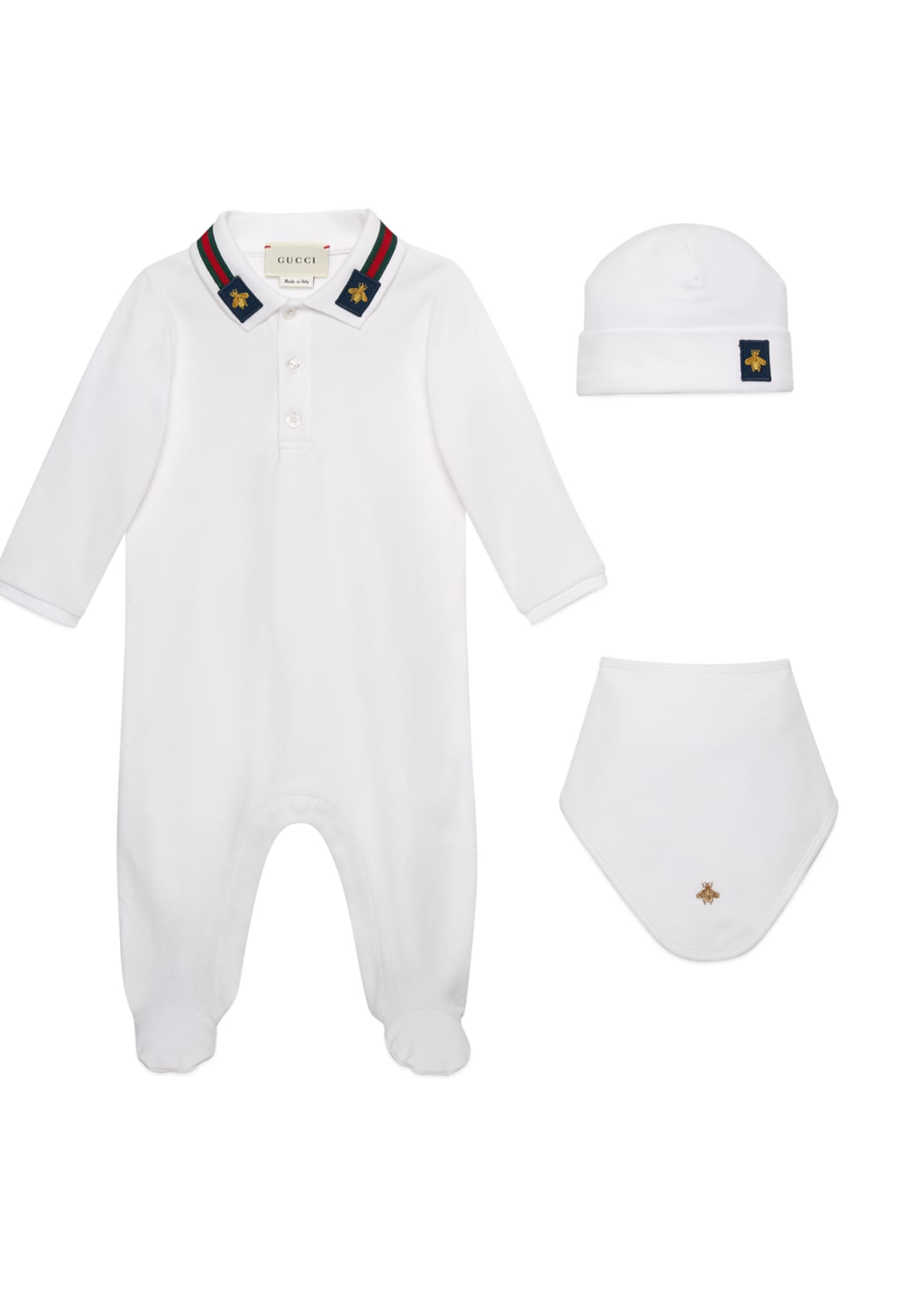 Gucci Embroidered Bee 3-Piece Layette Set, Size 0-9
