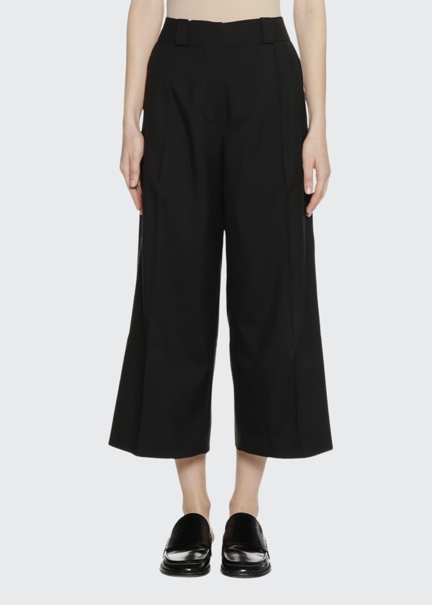 Marni Wide-Leg Cropped Virgin-Wool Woven Pants