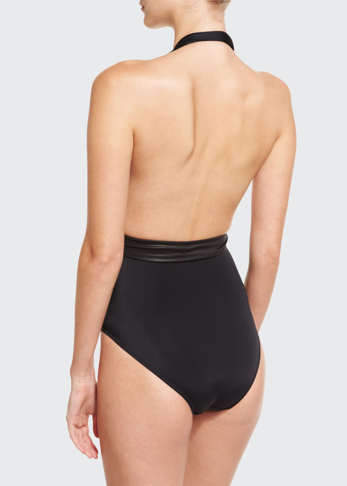 Image 2 of 2: Roman Plunge-Neck One-Piece Swimsuit