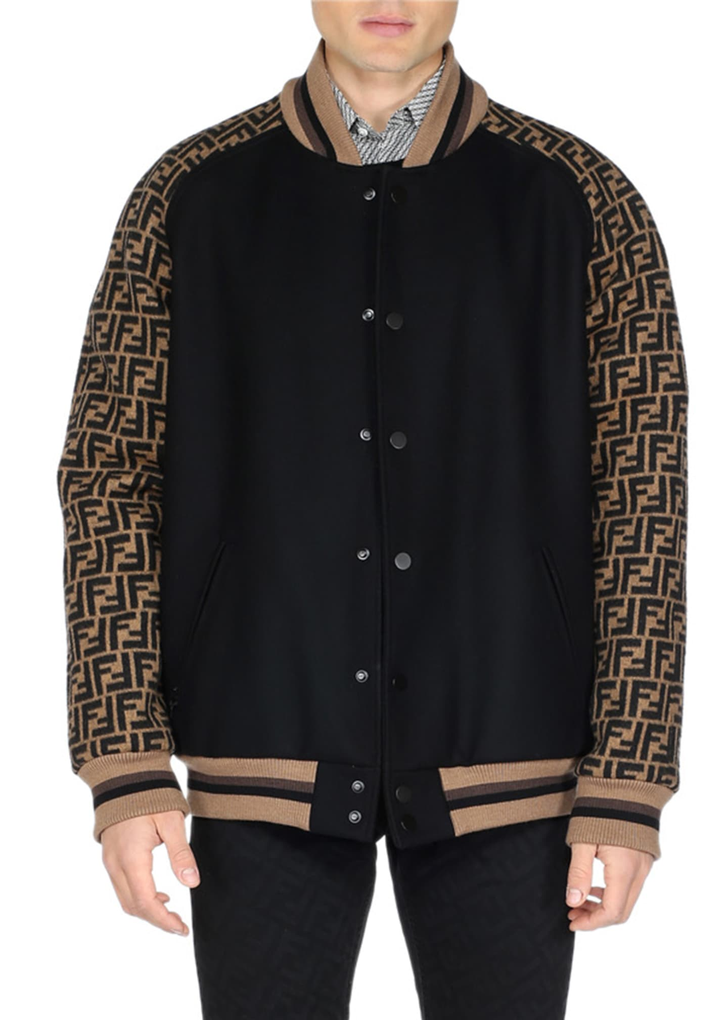 Fendi Men's FF Logo Varsity Jacket