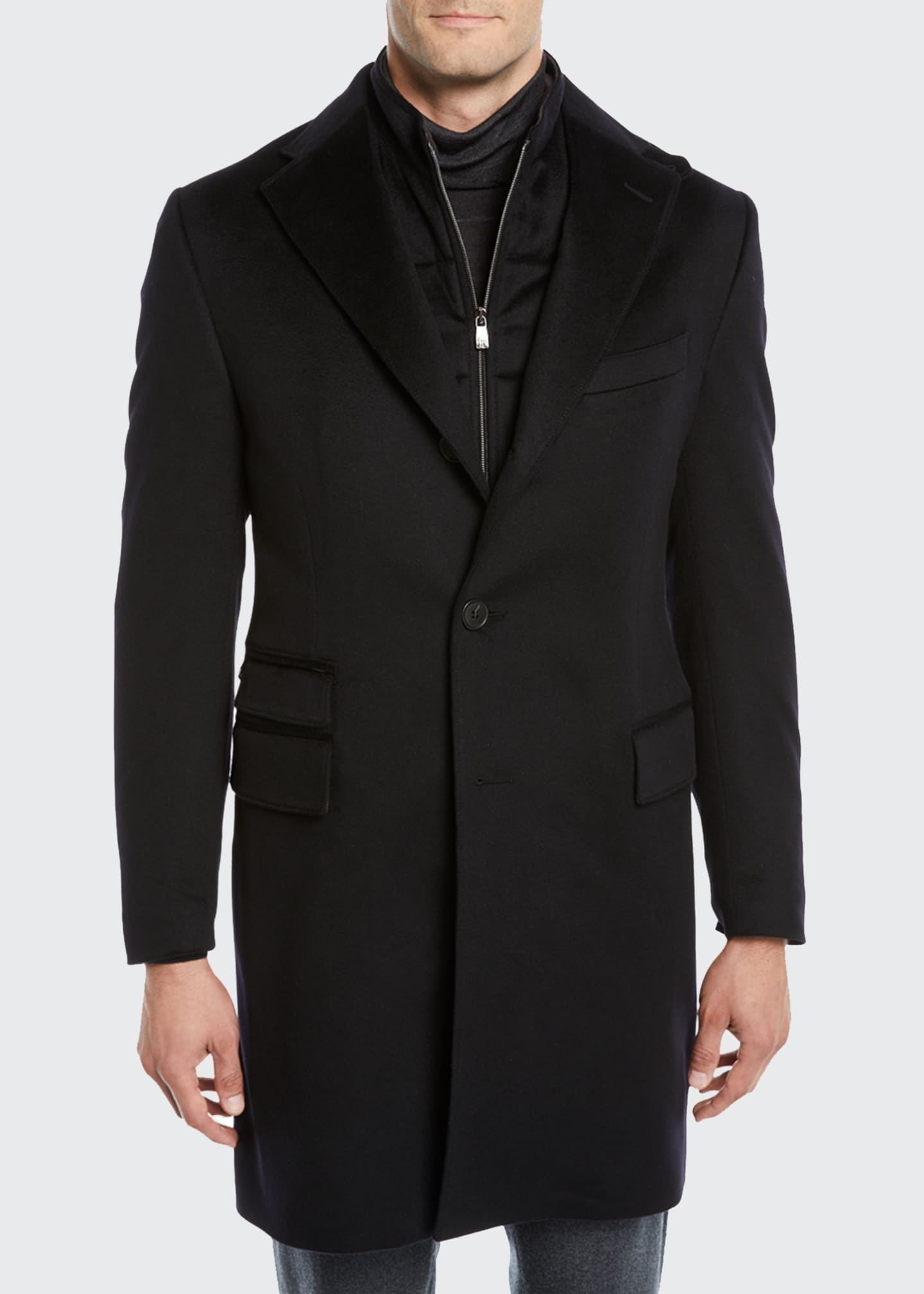 Image 2 of 4: Men's ID Wool Top Coat, Black