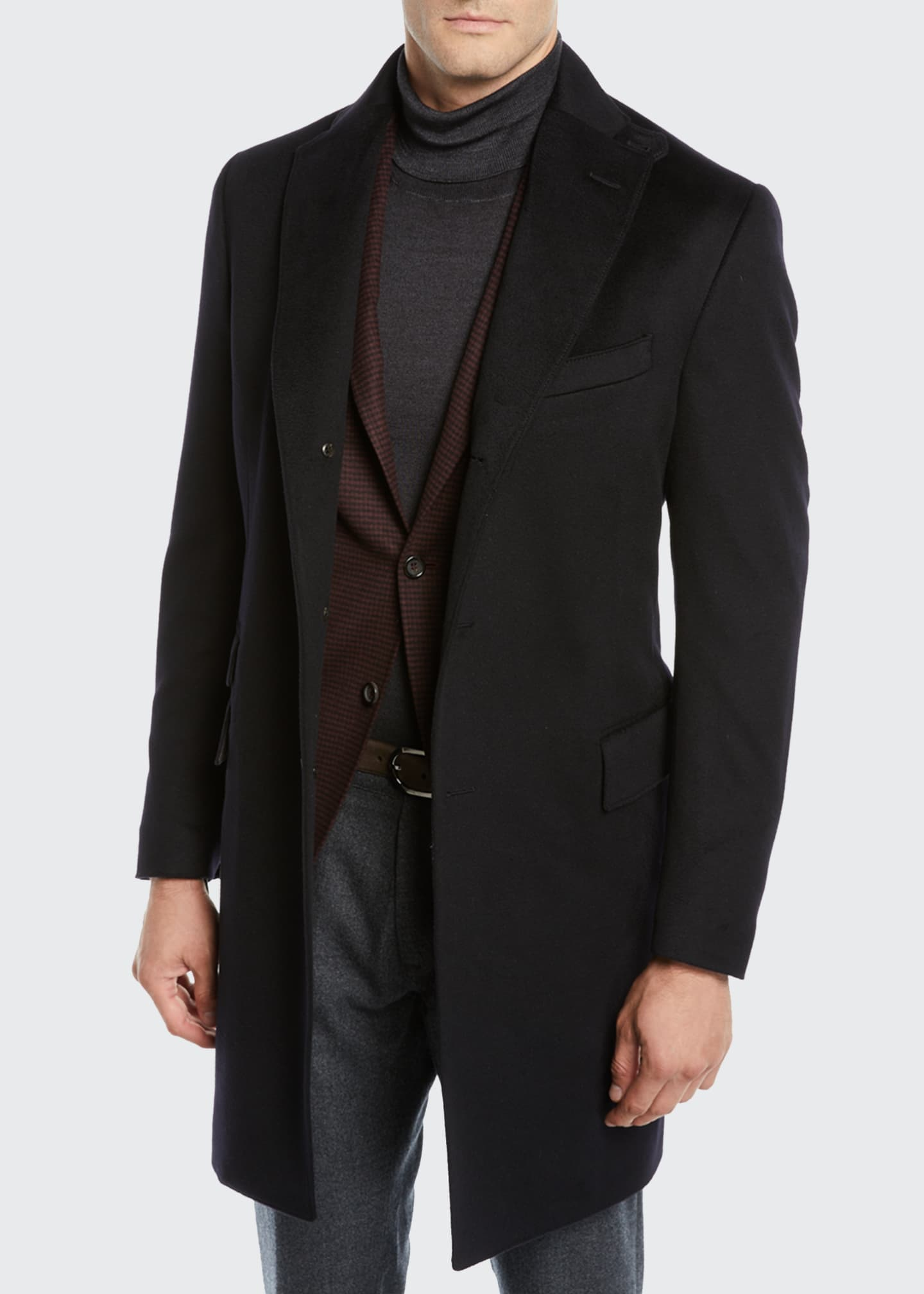 Image 4 of 4: Men's ID Wool Top Coat, Black
