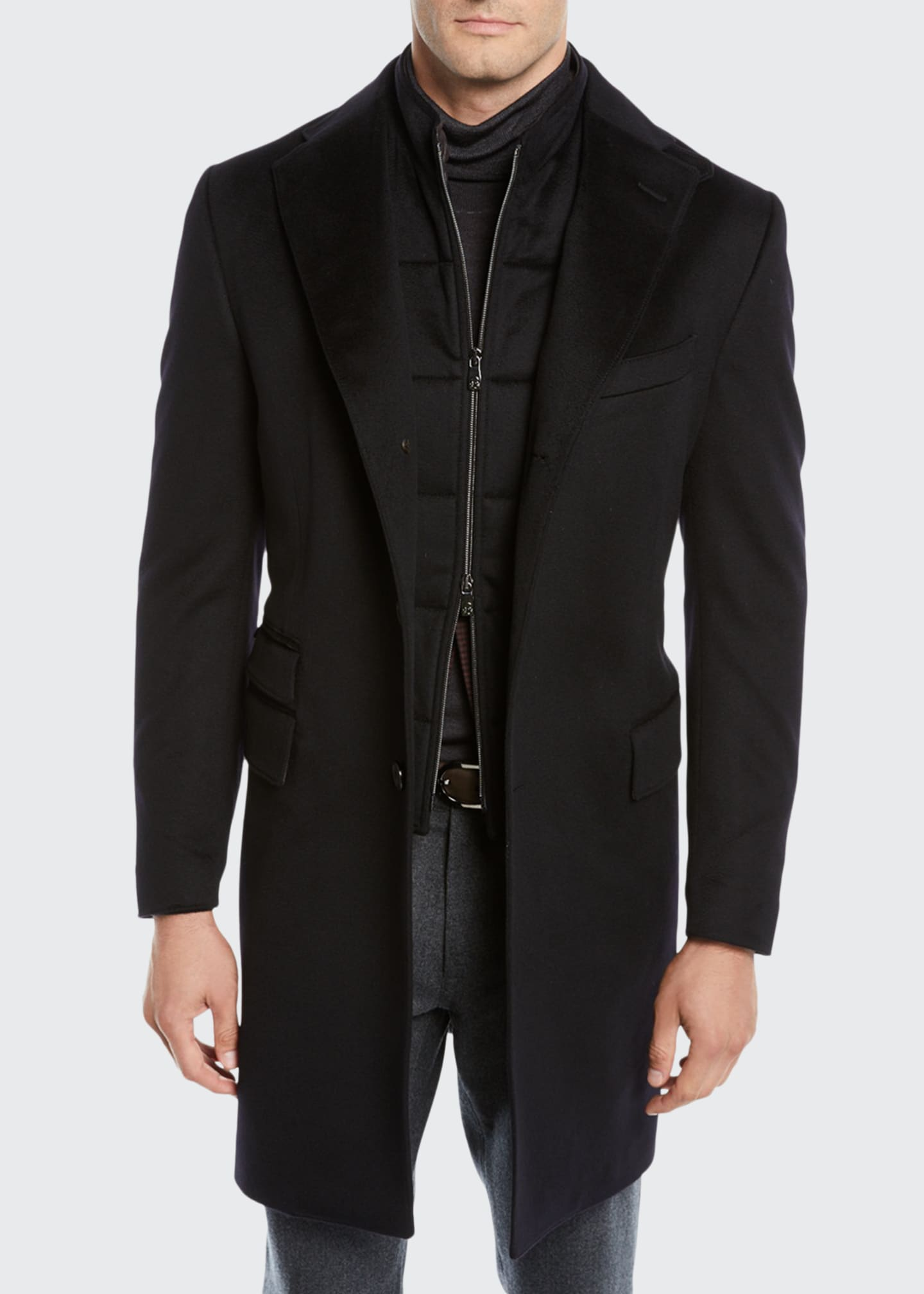 Image 1 of 4: Men's ID Wool Top Coat, Black