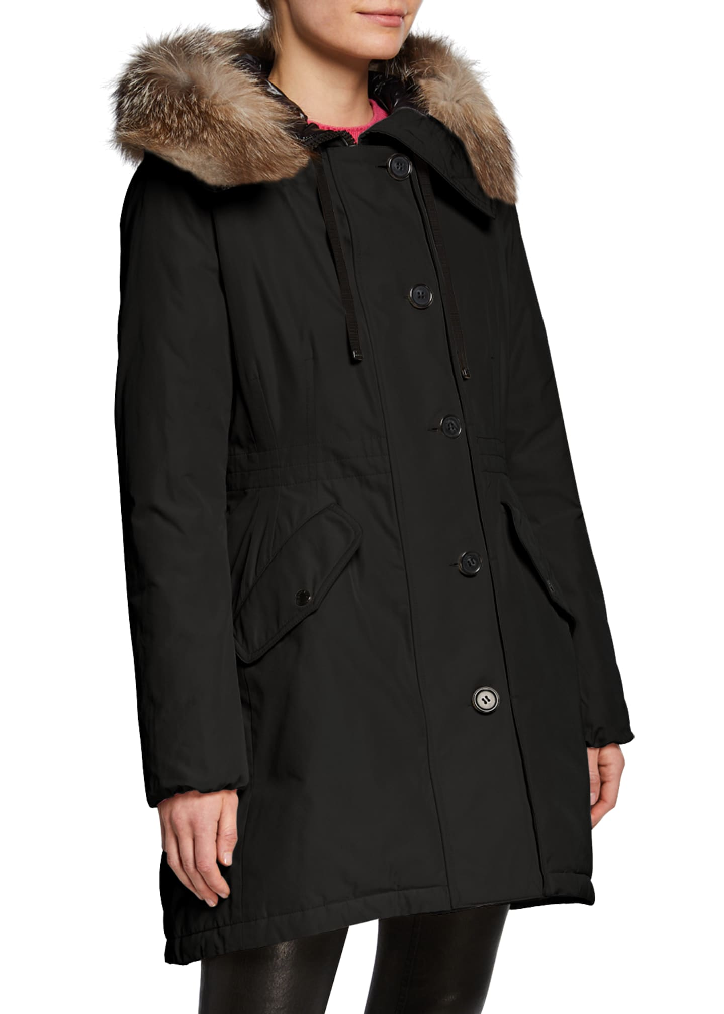 Moncler Monticole Long Parka Coat w/ Fur Trim
