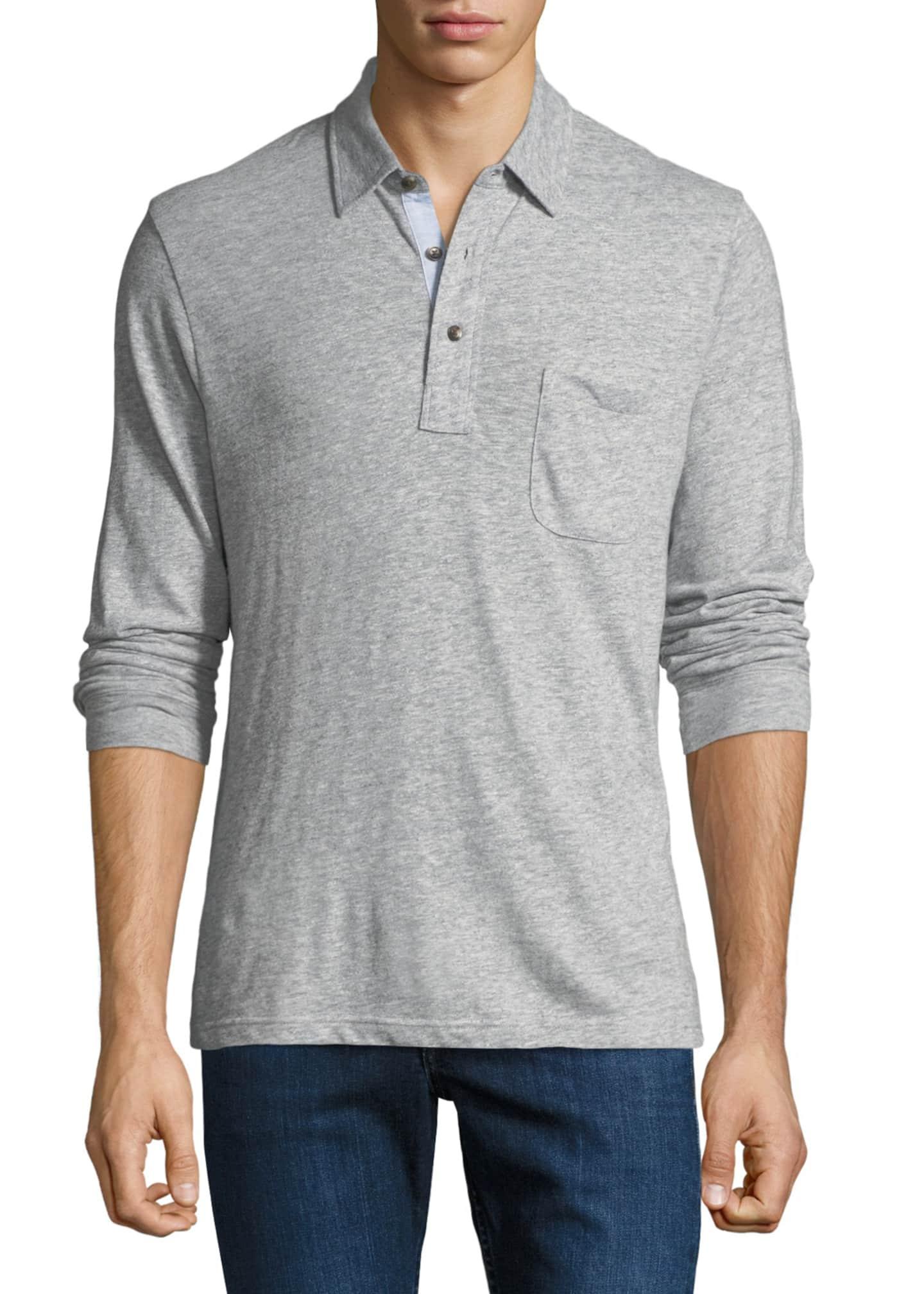 Faherty Men's Luxe Heather Long-Sleeve Polo Shirt, Gray