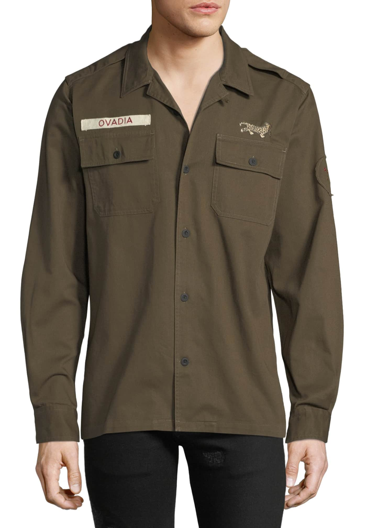 Ovadia & Sons Men's Logo Patch Military Shirt