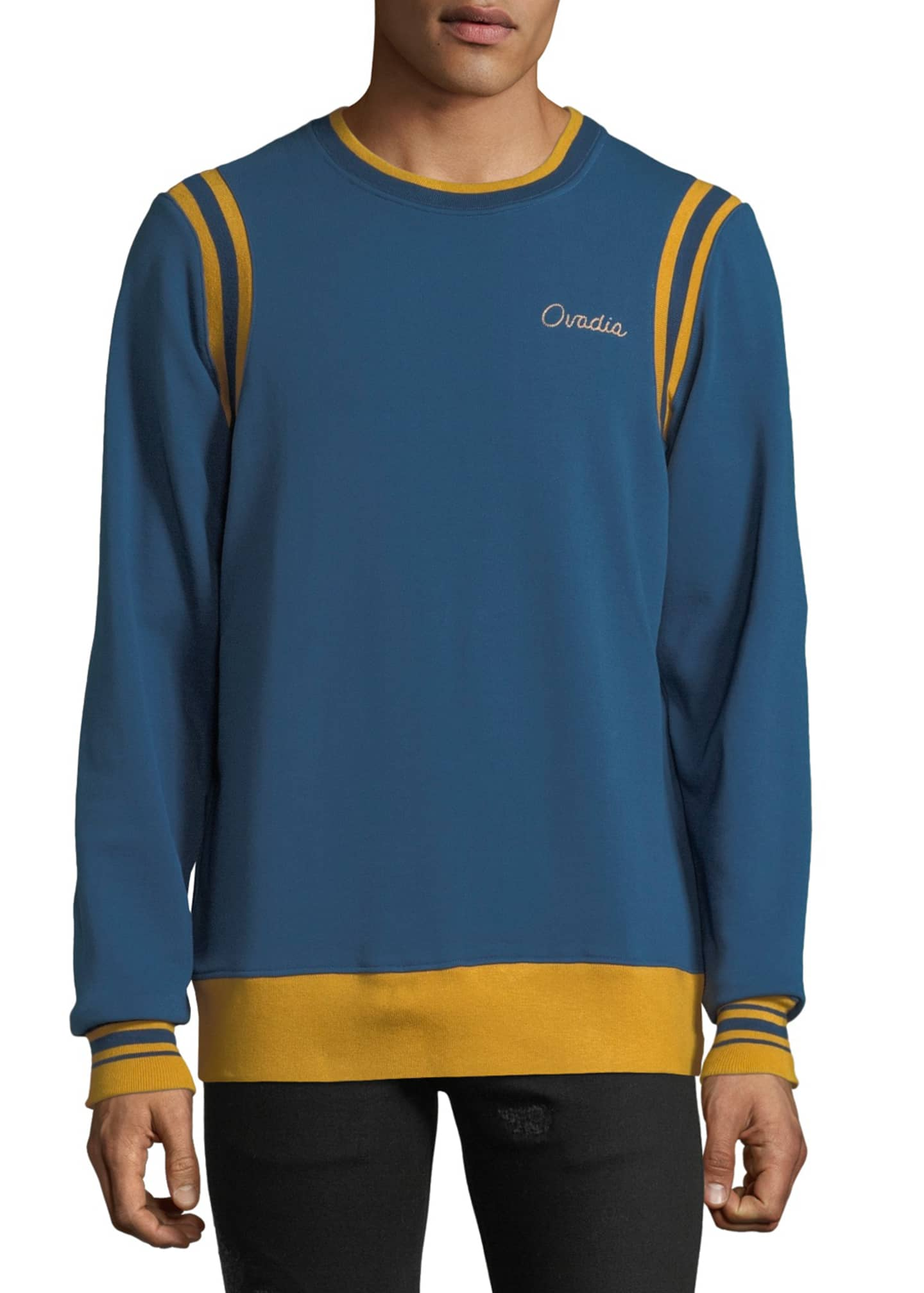 Ovadia & Sons Men's Striped-Trim Varsity Sweatshirt