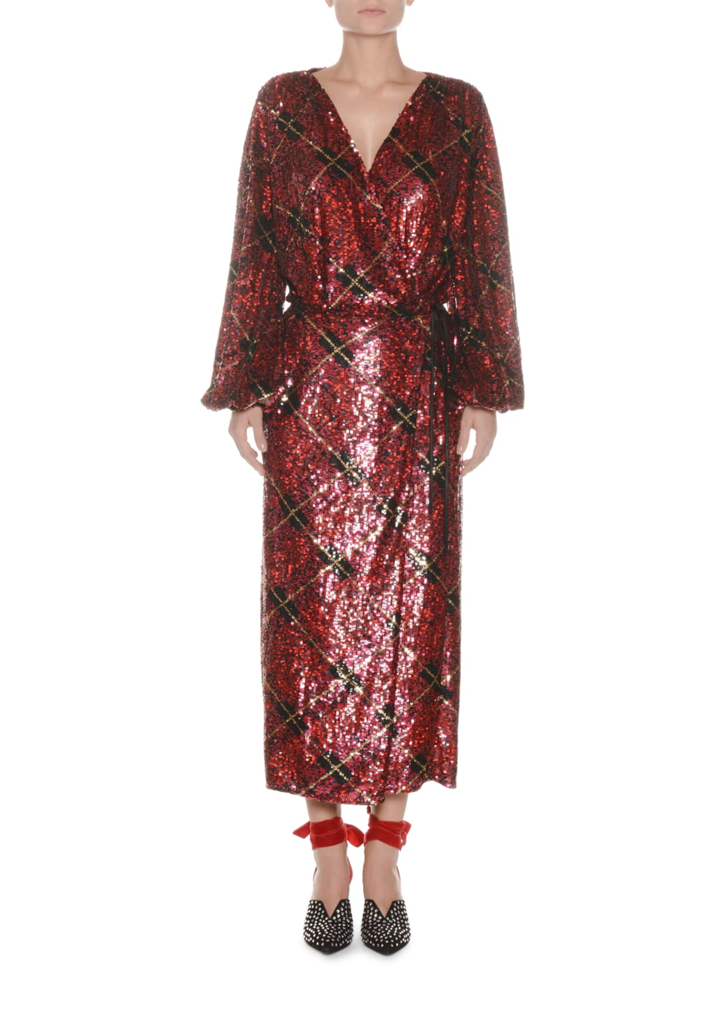 Attico Blouson-Sleeve Plaid Sequin Wrap Robe Evening Dress