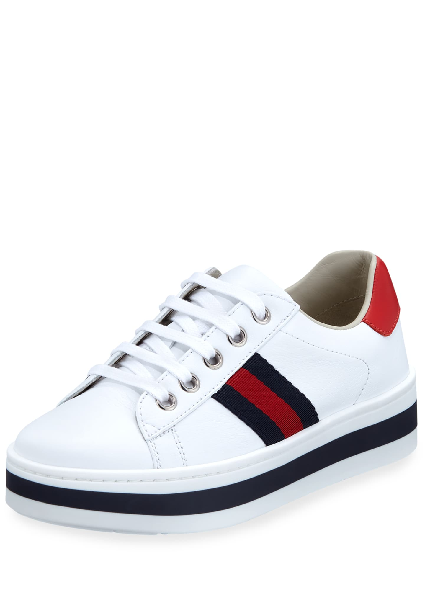Aceweb new ace web-trim leather platform sneakers, kids