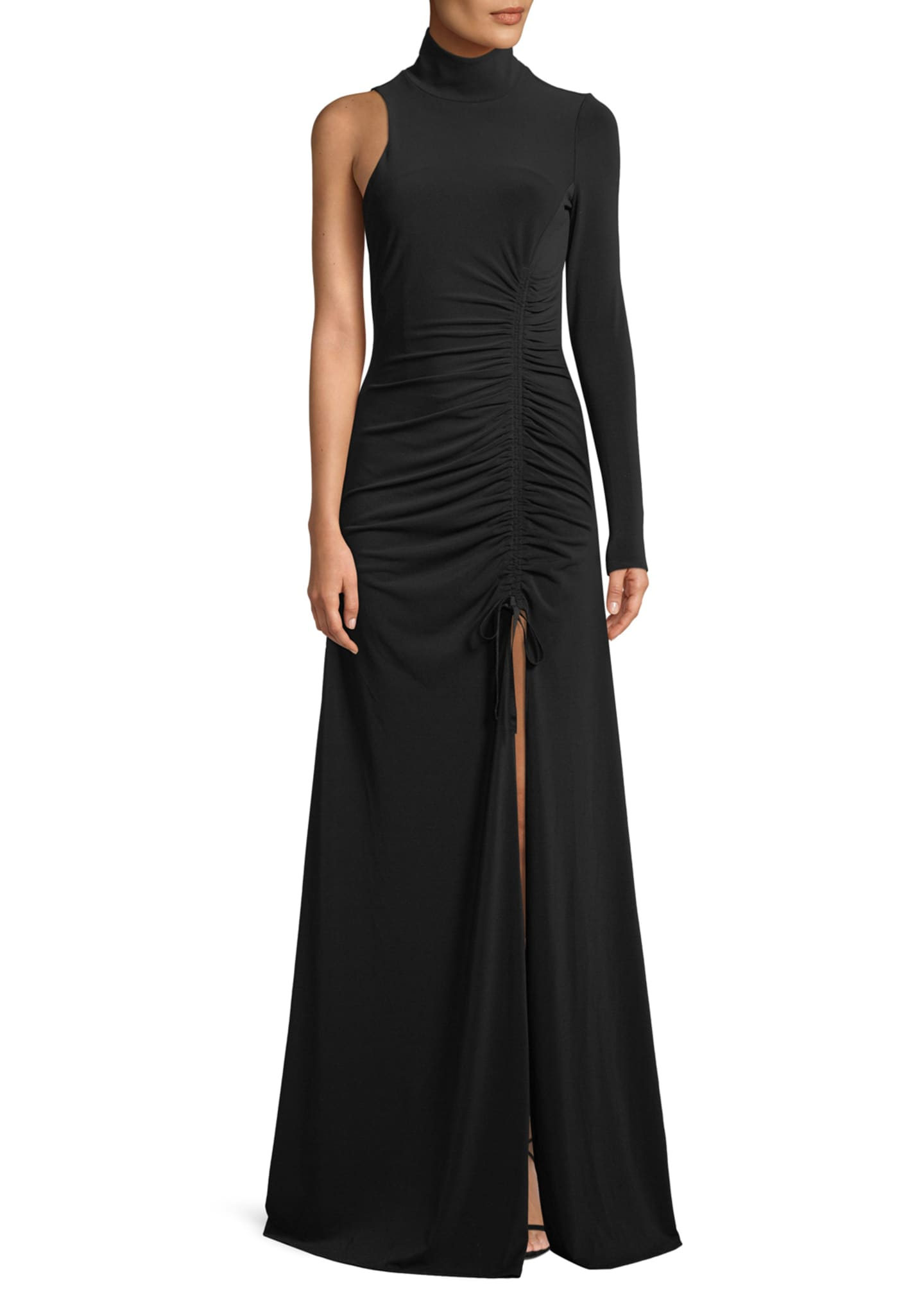 cinq a sept Francoise Ruched One-Sleeve Gown