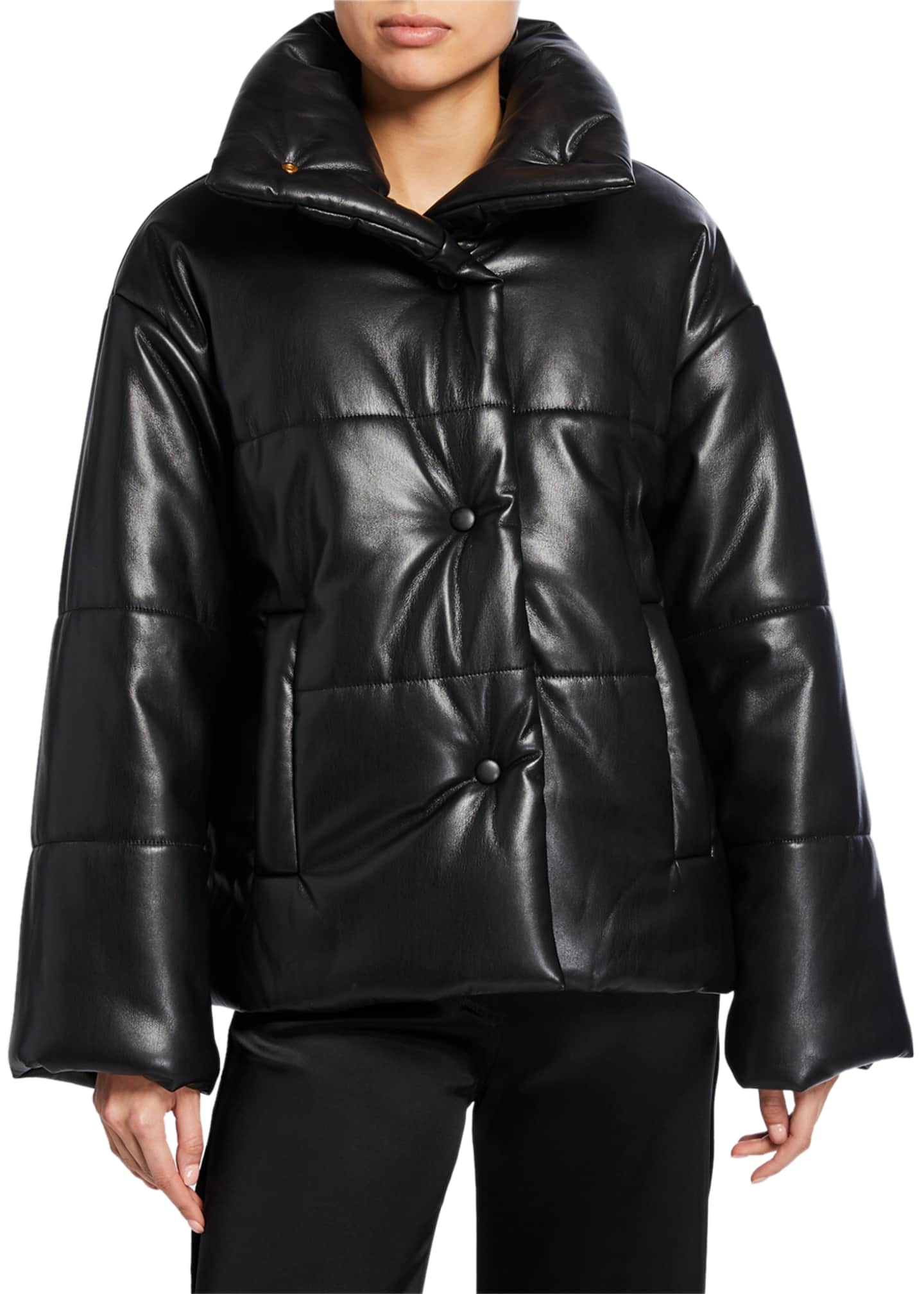Image 2 of 3: Hide Vegan Leather Puffer Jacket