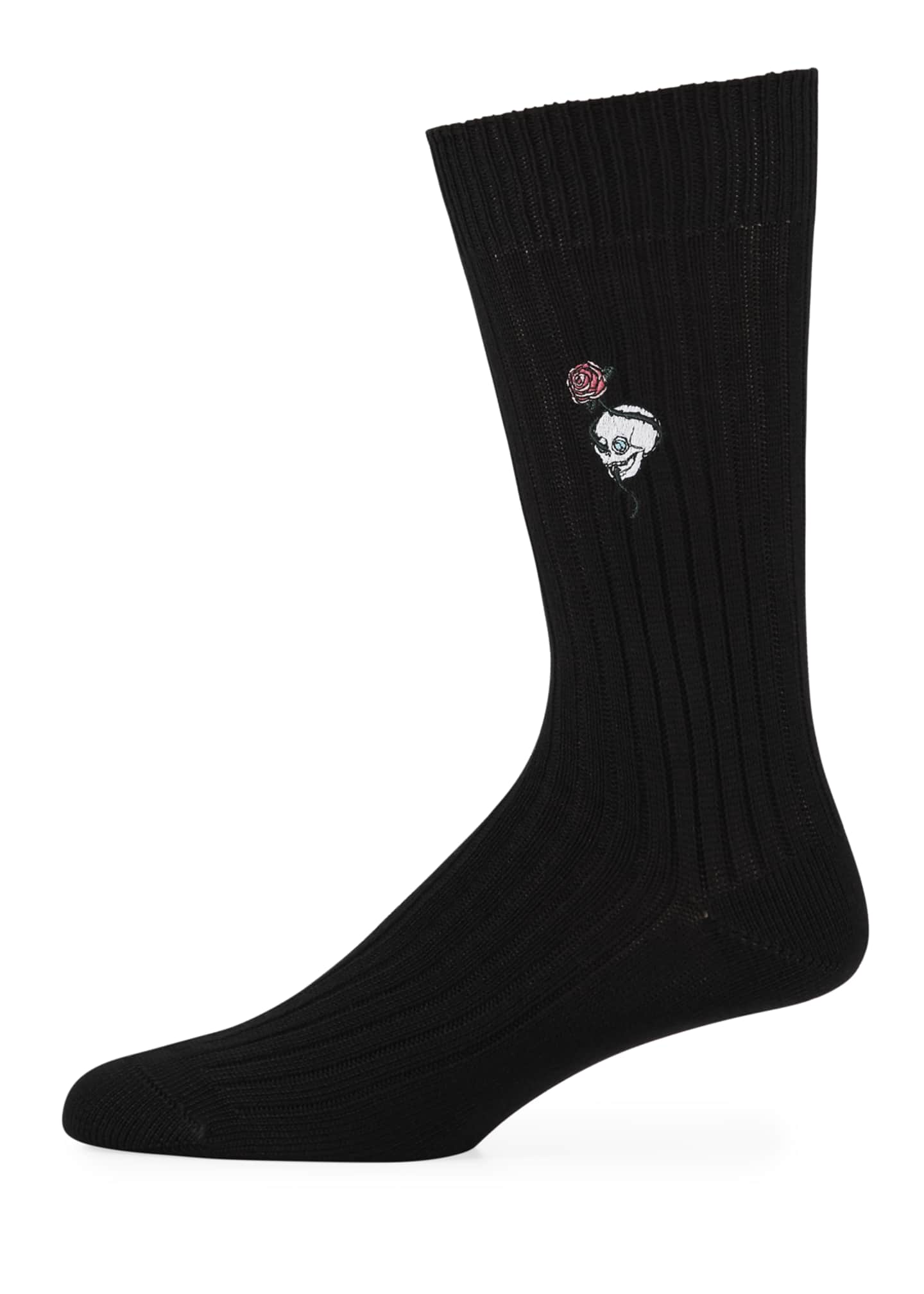Alexander McQueen Men's Chunky-Knit Skull & Rose Cotton