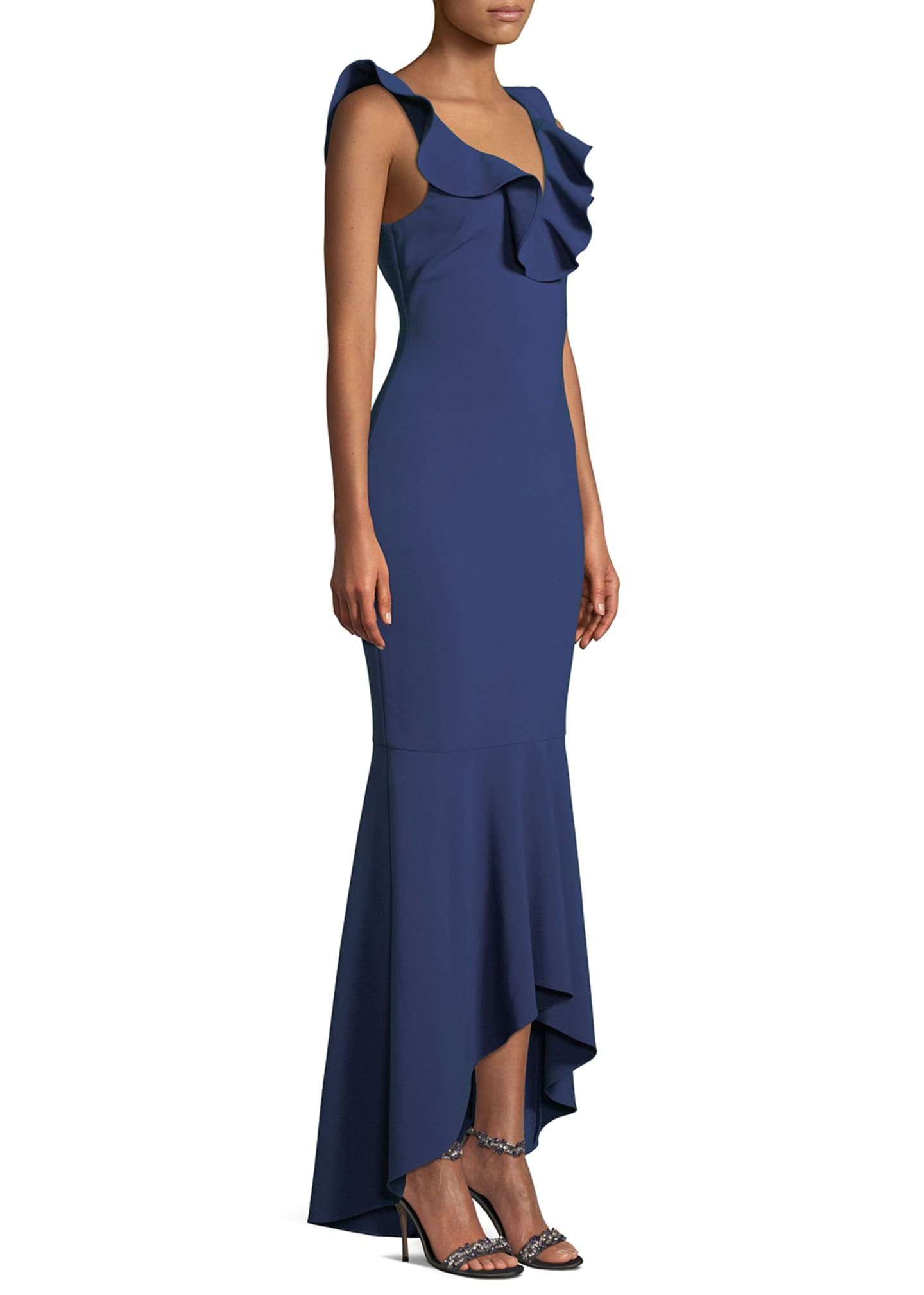 Image 3 of 3: Rowen Ruffle V-Neck Sleeveless Gown