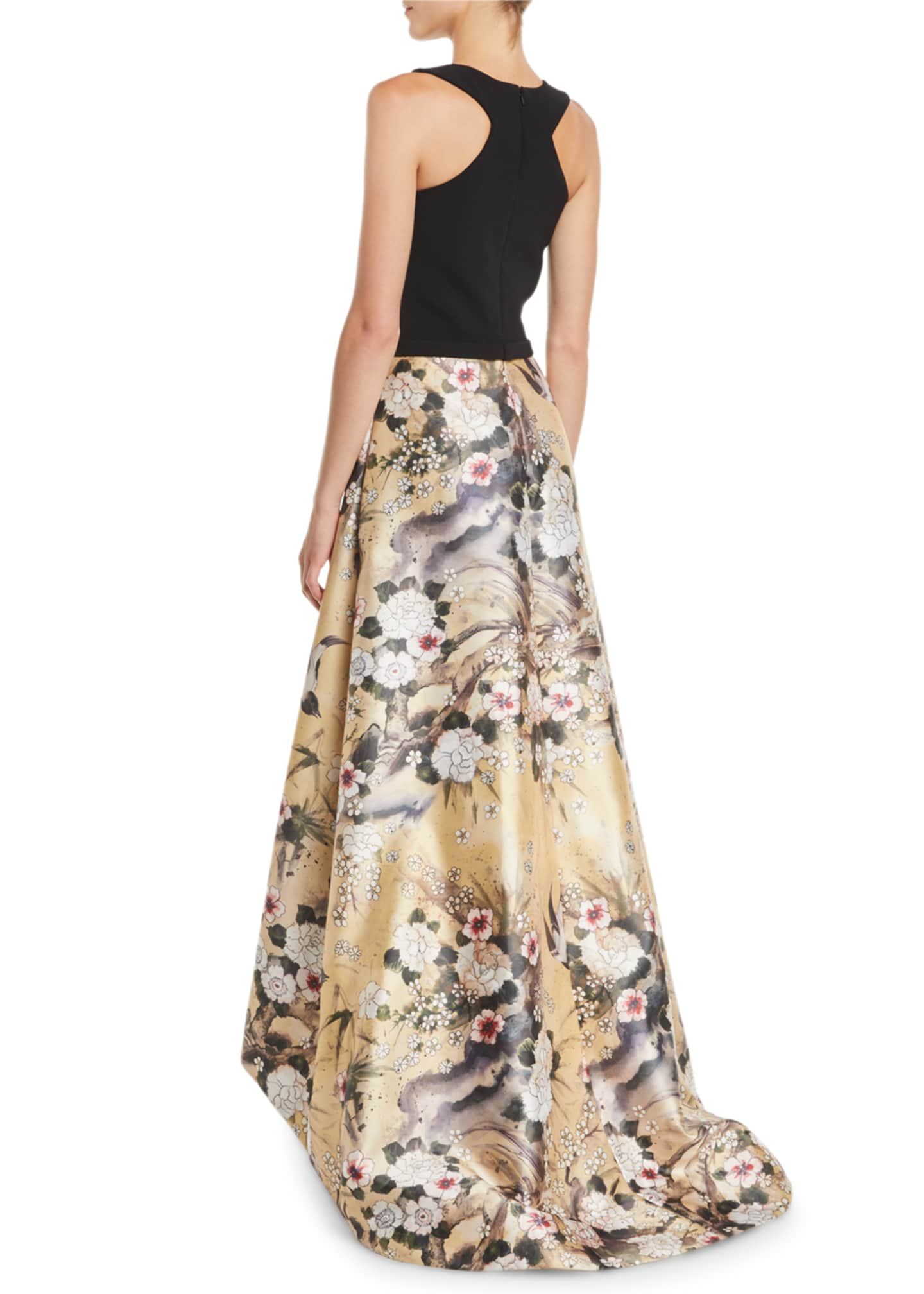 Image 2 of 2: Japanese Parchment Print Sleeveless Gown with Flowers