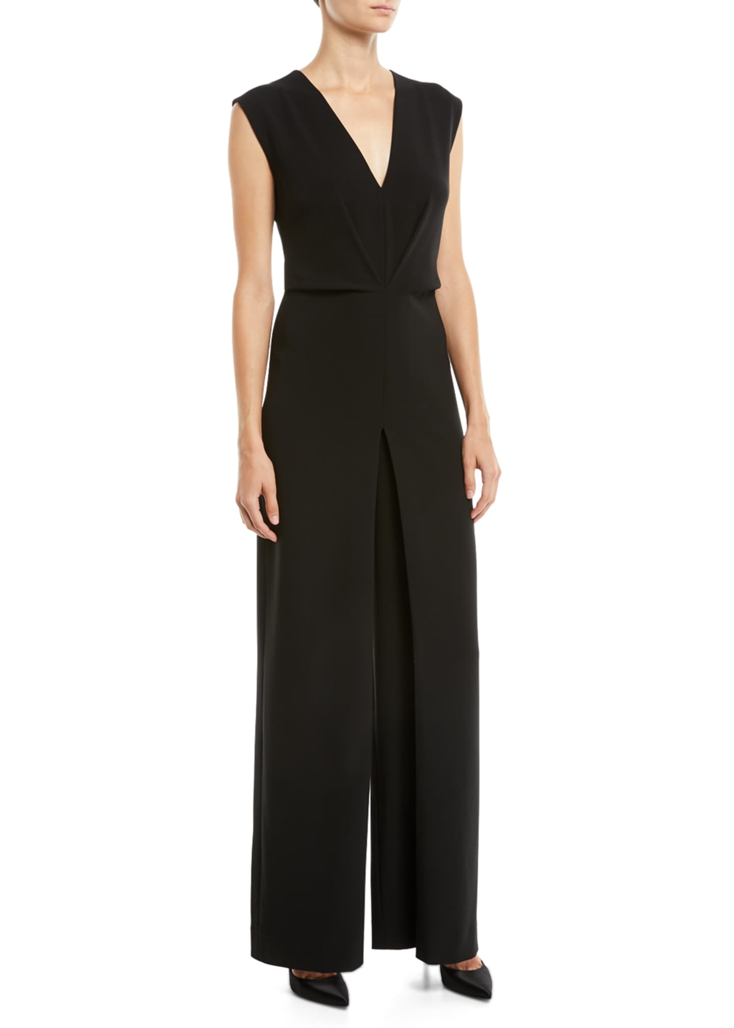 Theory Pleated Crepe Wide-Leg Sleeveless Jumpsuit
