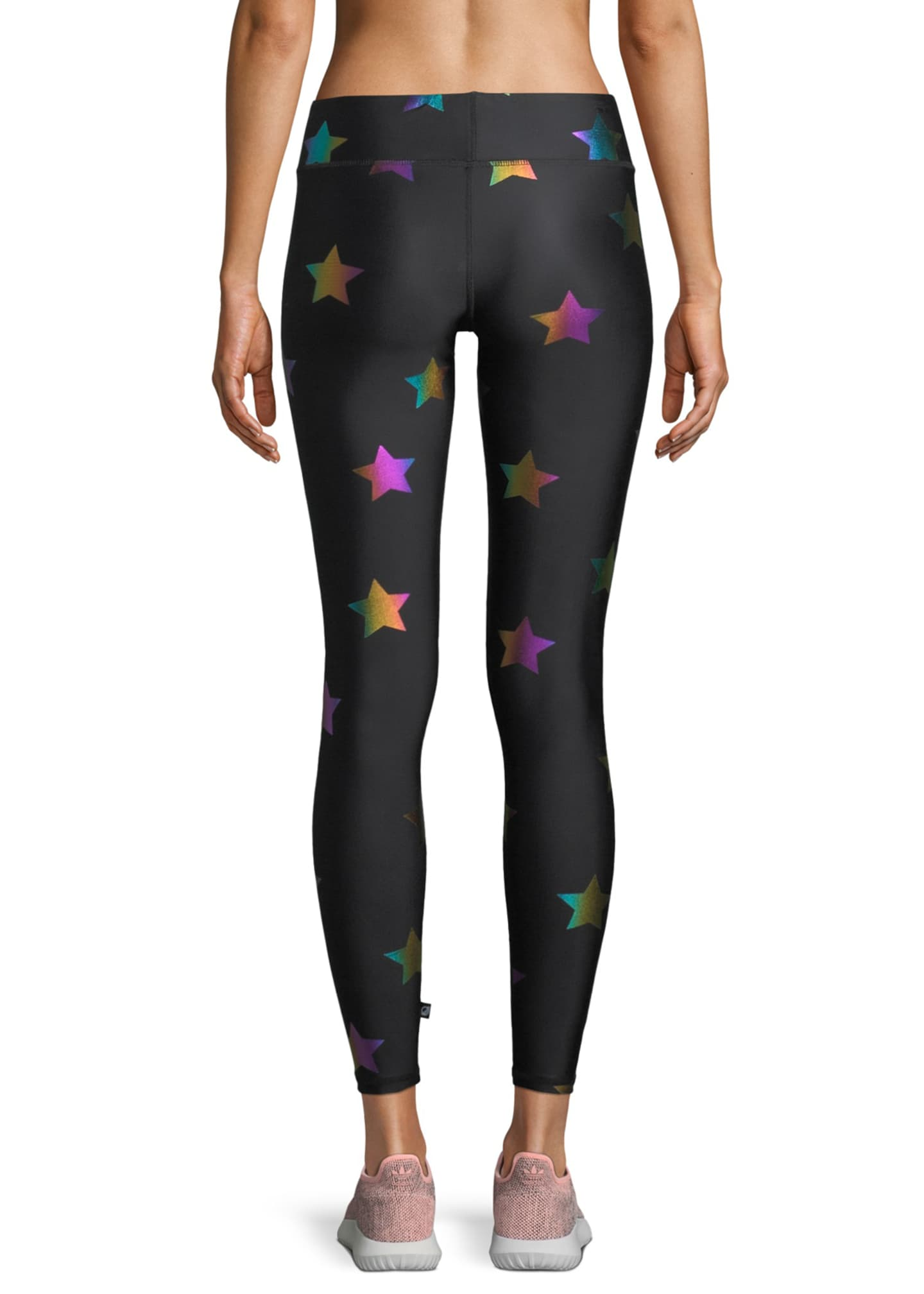 Image 2 of 3: Rainbow Star Foil Printed Tall Band Leggings