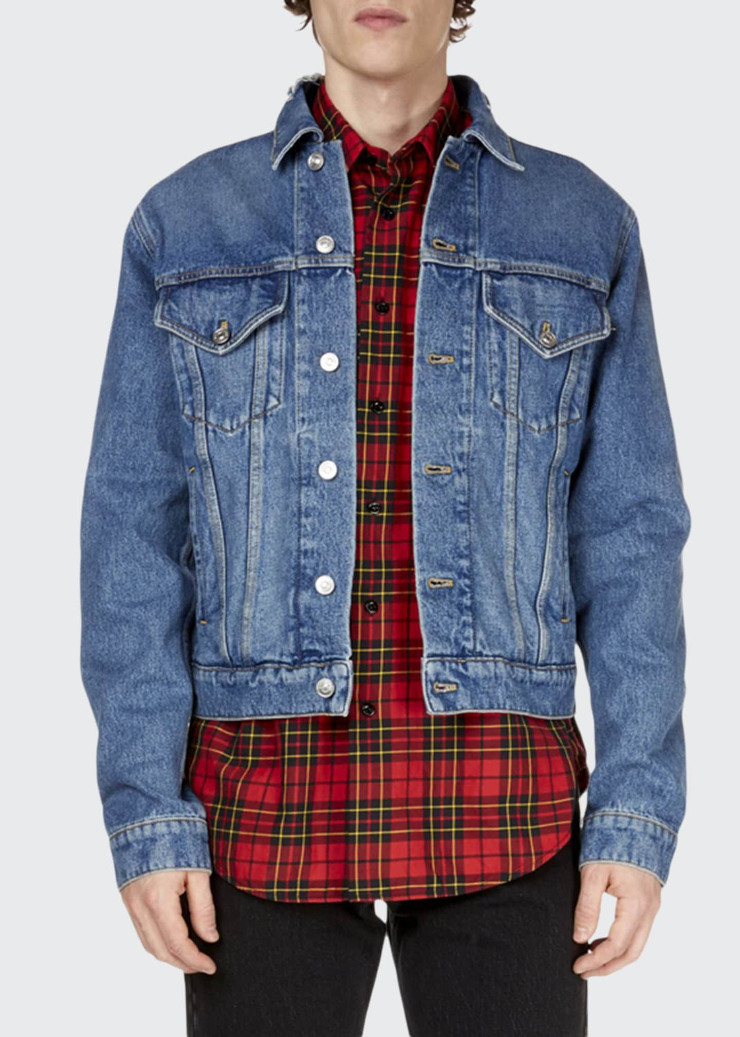 Image 1 of 2: Men's Campaign Embroidery Denim Jacket