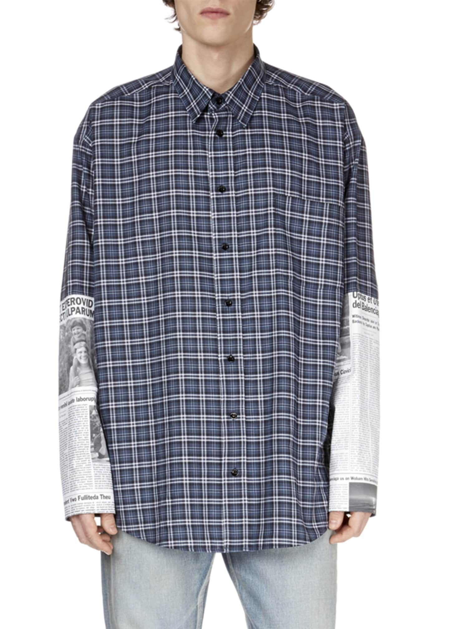 Balenciaga Men's Newspaper Patch Plaid Shirt