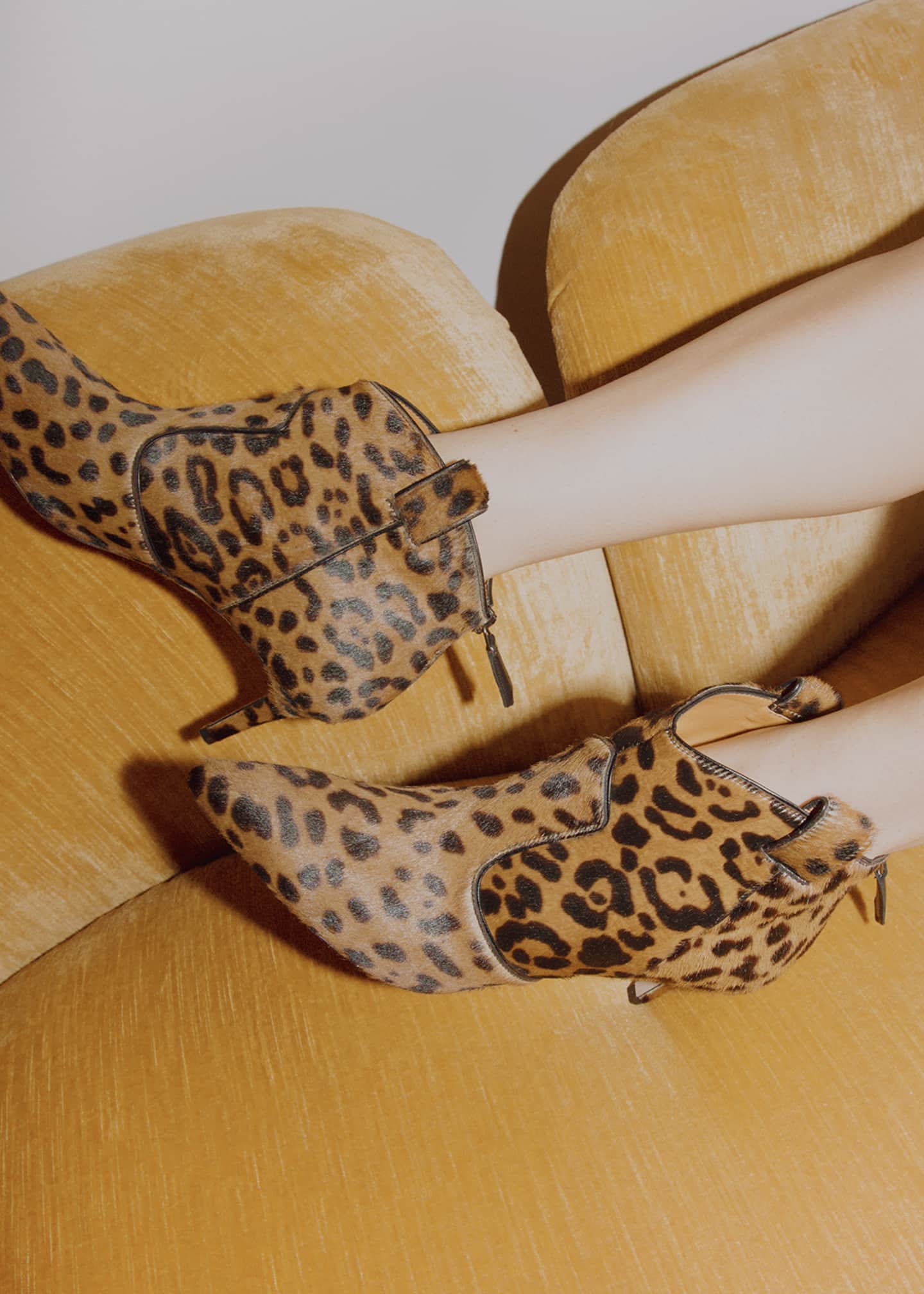 Image 2 of 4: Lexi Leopard-Print Calf Hair Pointed 65mm Booties