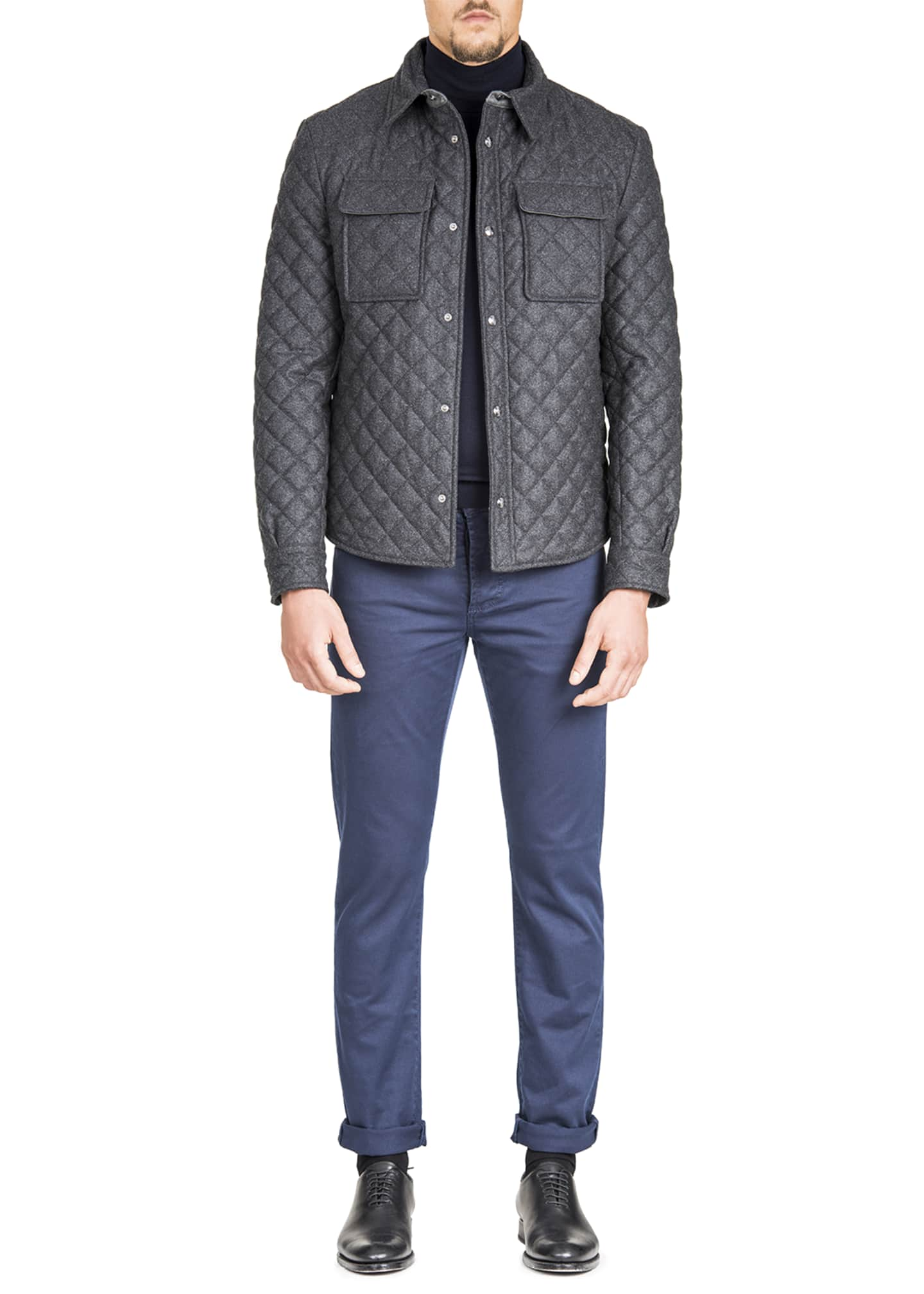 Image 2 of 3: Men's Quilted Snap-Front Shirt Jacket
