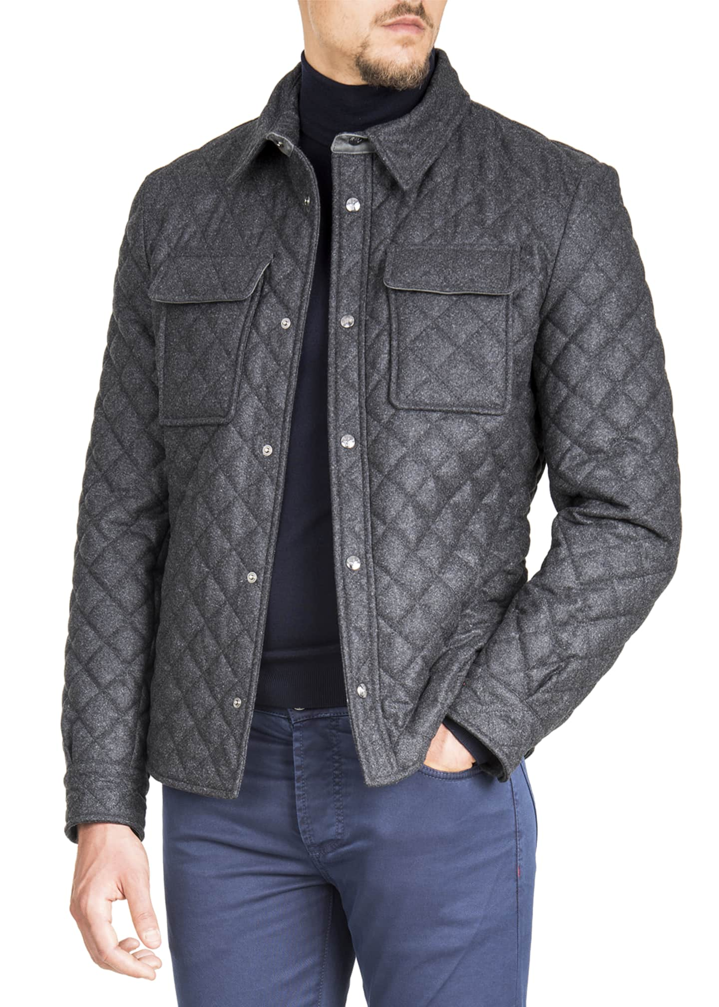 Image 1 of 3: Men's Quilted Snap-Front Shirt Jacket