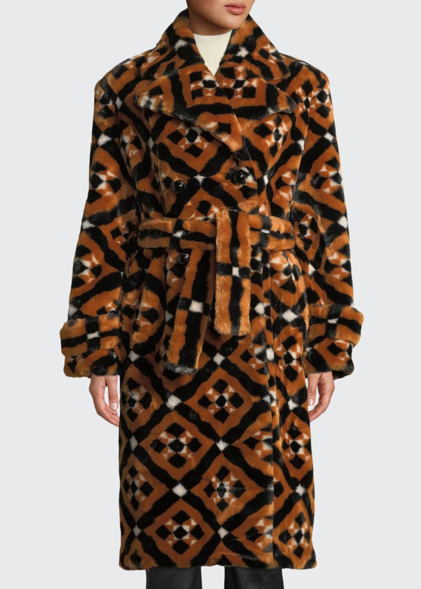 Mary Katrantzou Stokes Double-Breasted Tie-Waist Tile-Print