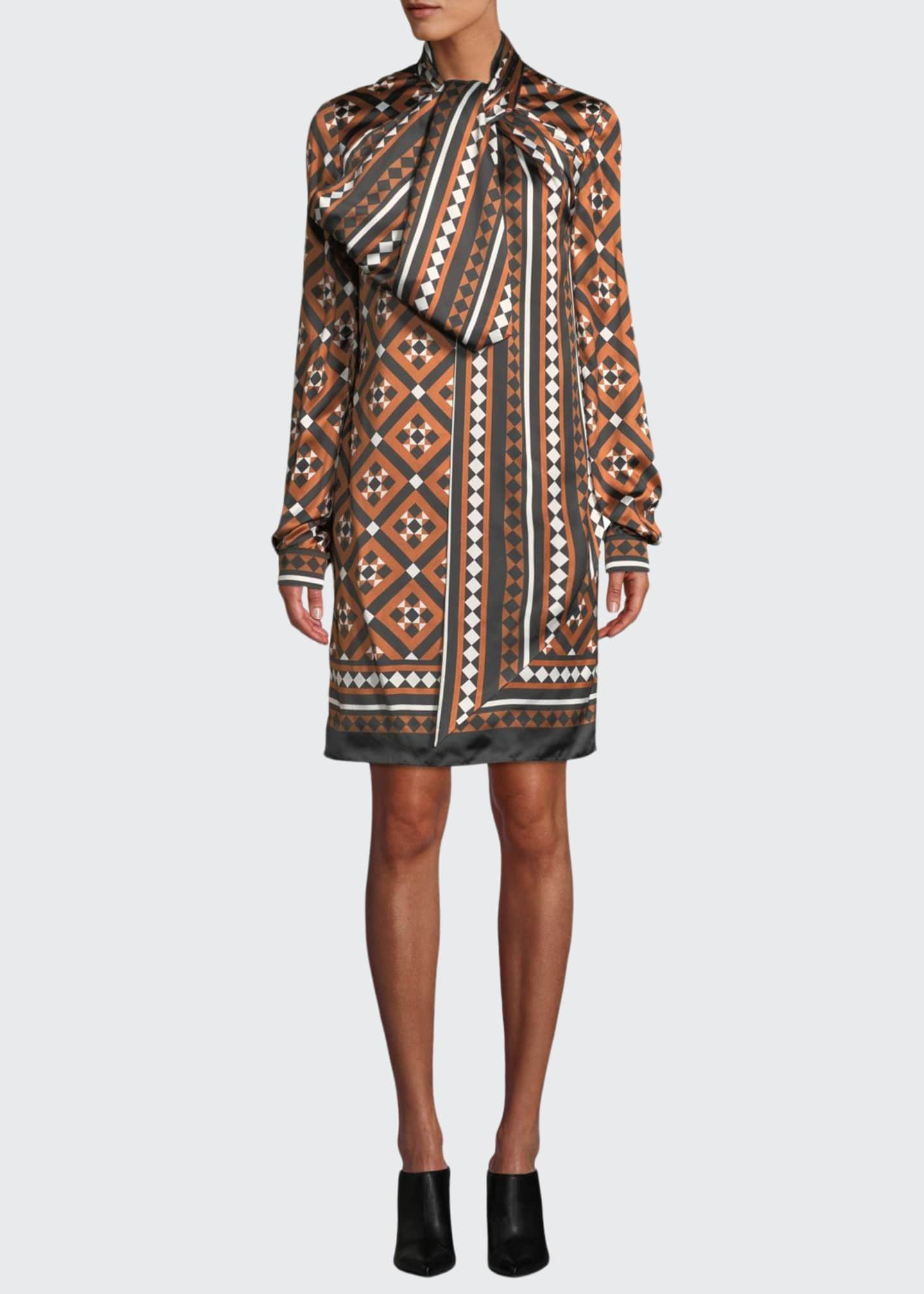 Mary Katrantzou Lyonel Long-Sleeve Tile-Print Cocktail Dress w/