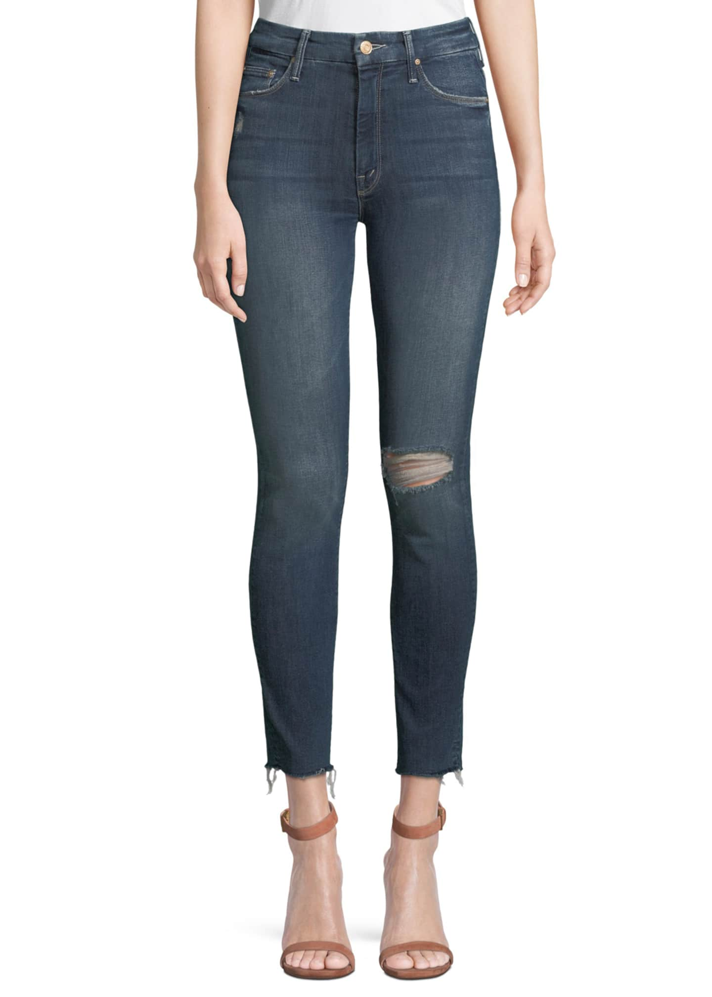 MOTHER Looker High-Waist Distressed Ankle Skinny Jeans