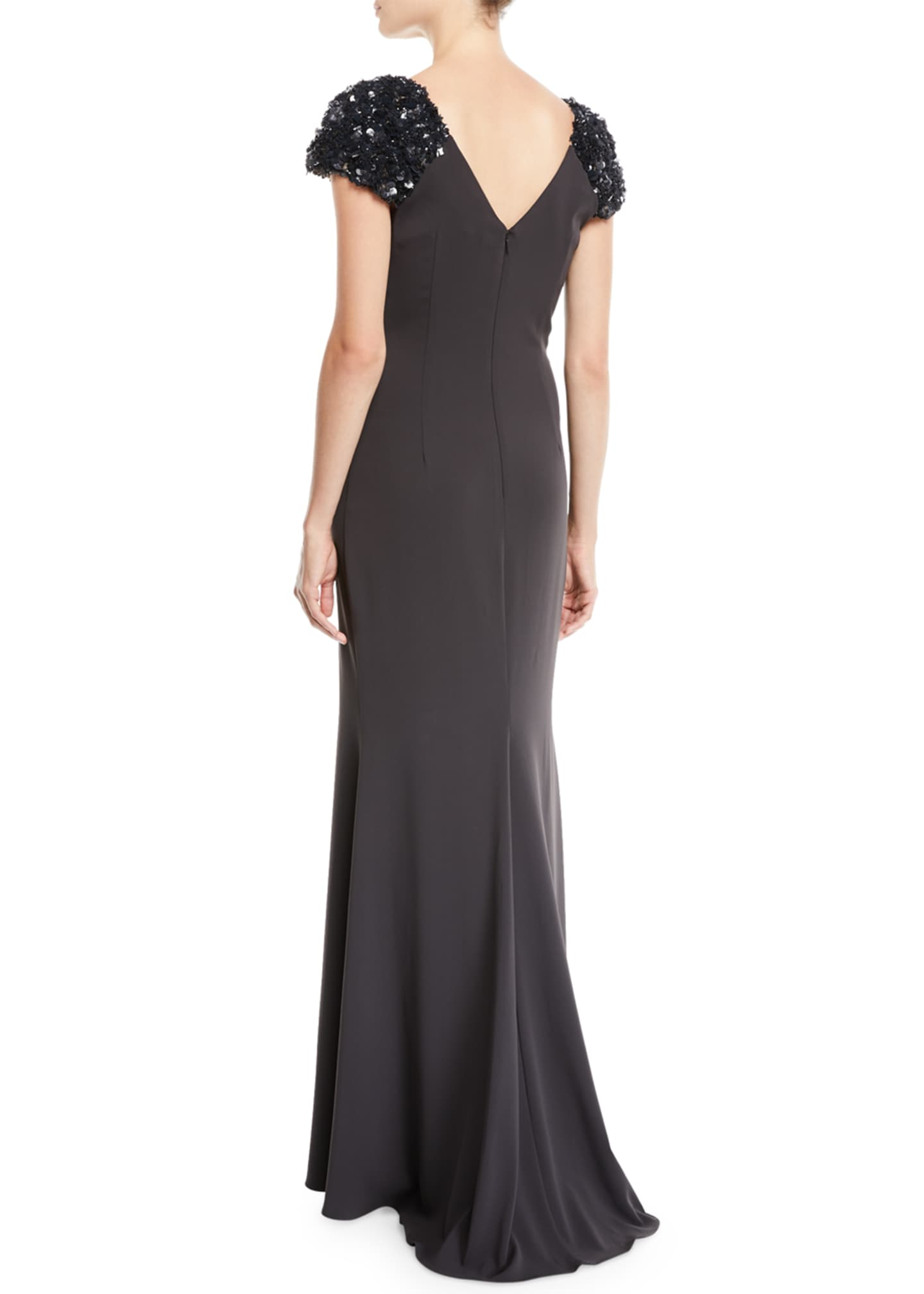 Image 2 of 2: V-Neck Gown w/ Beaded Sleeves