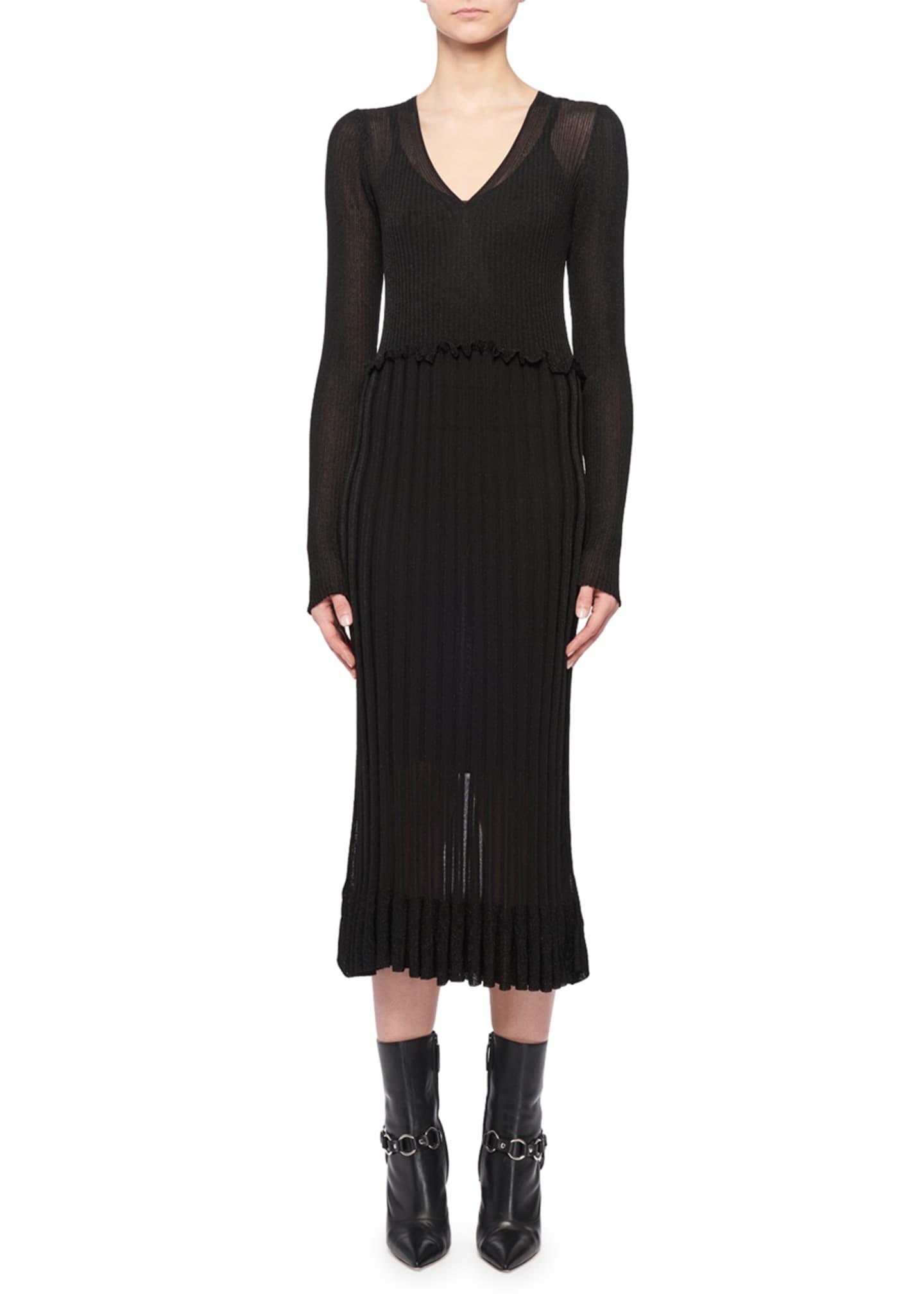 Altuzarra Lurex® Long-Sleeve Dress w/ Flounce Hem