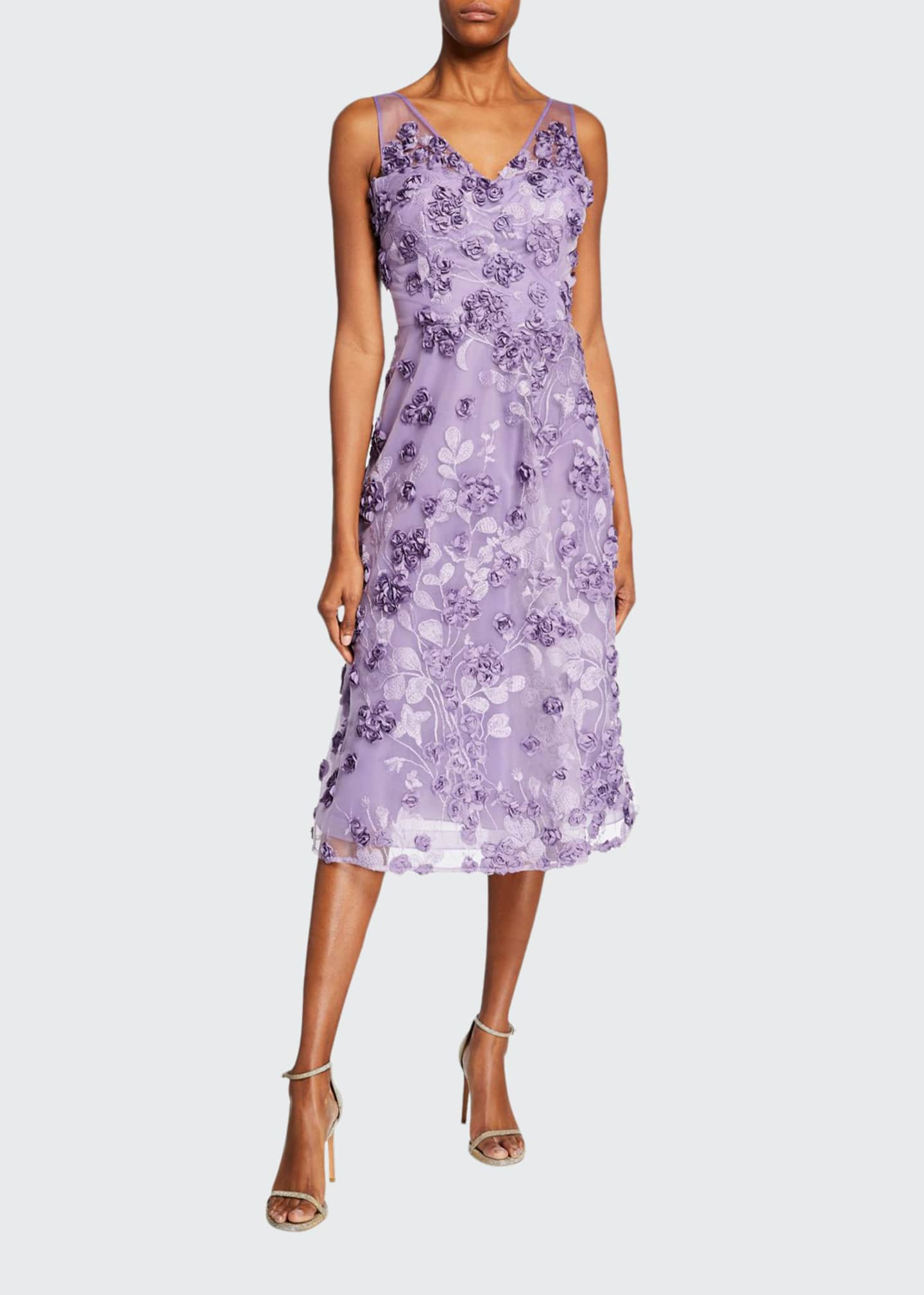 Rickie Freeman for Teri Jon Tulle Tea-Length Dress