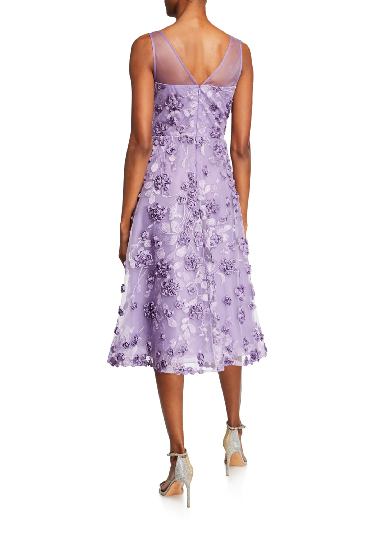Image 2 of 2: Tulle Tea-Length Dress w/ Floral Appliques