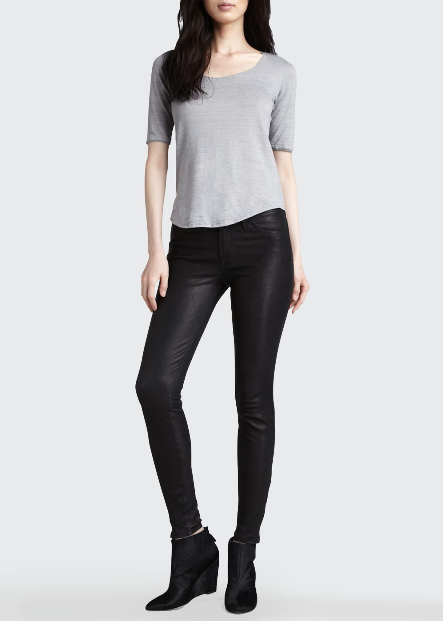 J Brand Leather Super Skinny Pants, Noir