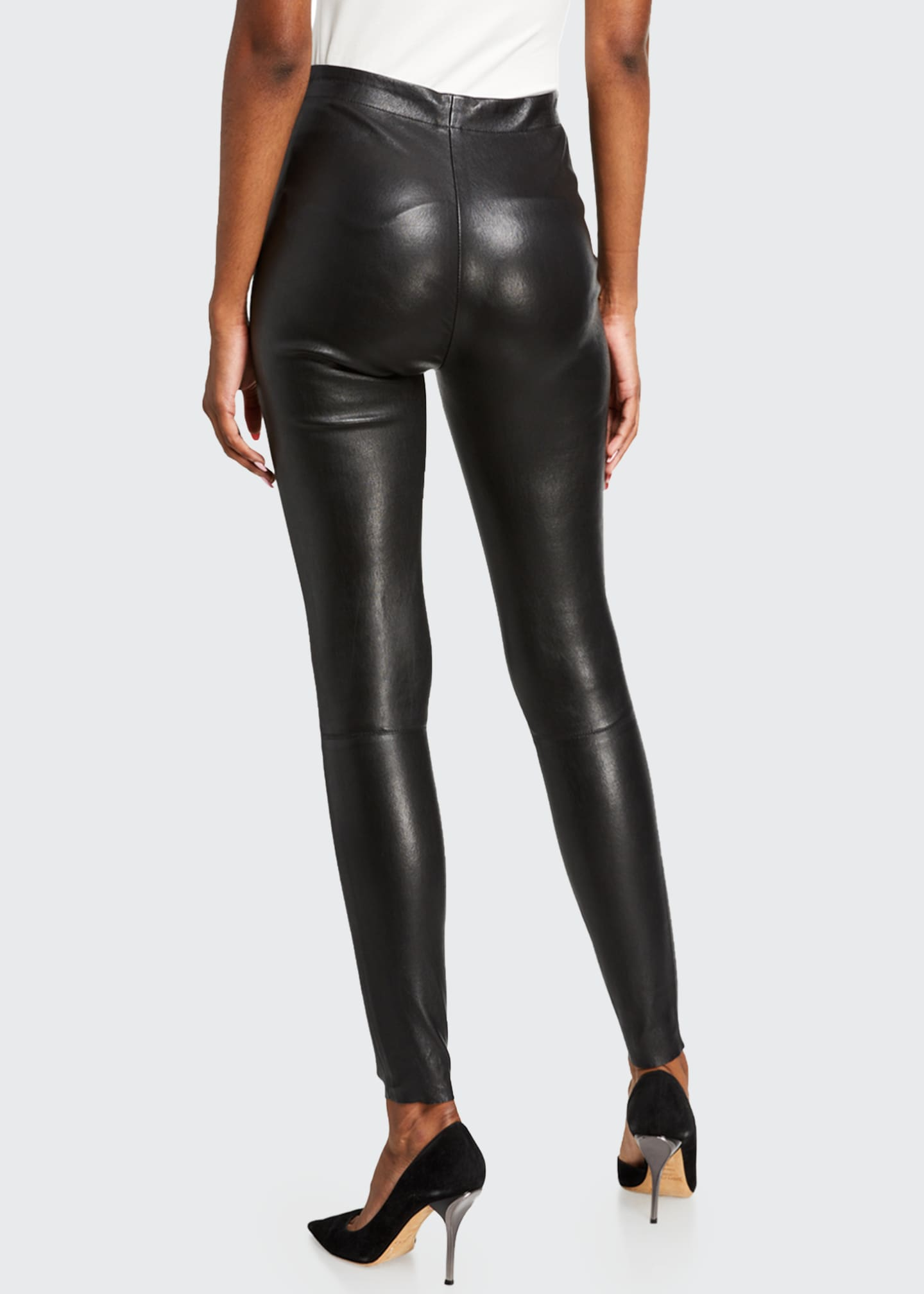 Image 2 of 3: Maddox Leather High-Waist Side Zip Leggings