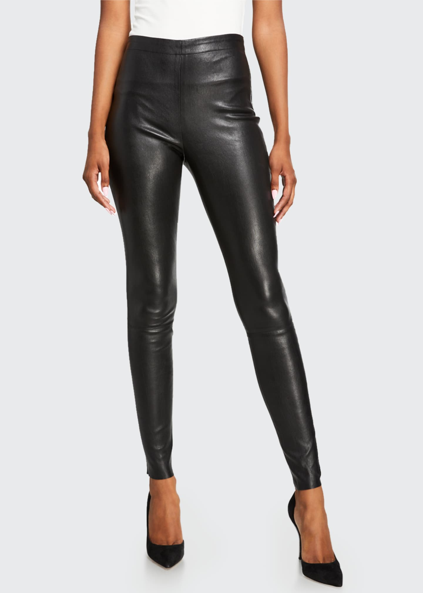 Image 3 of 3: Maddox Leather High-Waist Side Zip Leggings