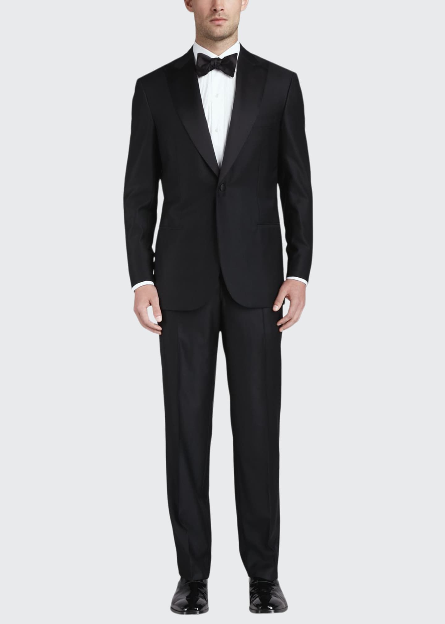 Image 1 of 2: One-Button Peaked-Lapel Tuxedo