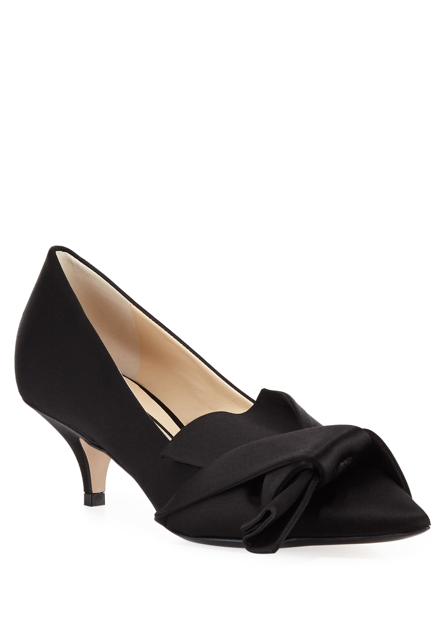 No. 21 Satin Pumps with Knotted Bow