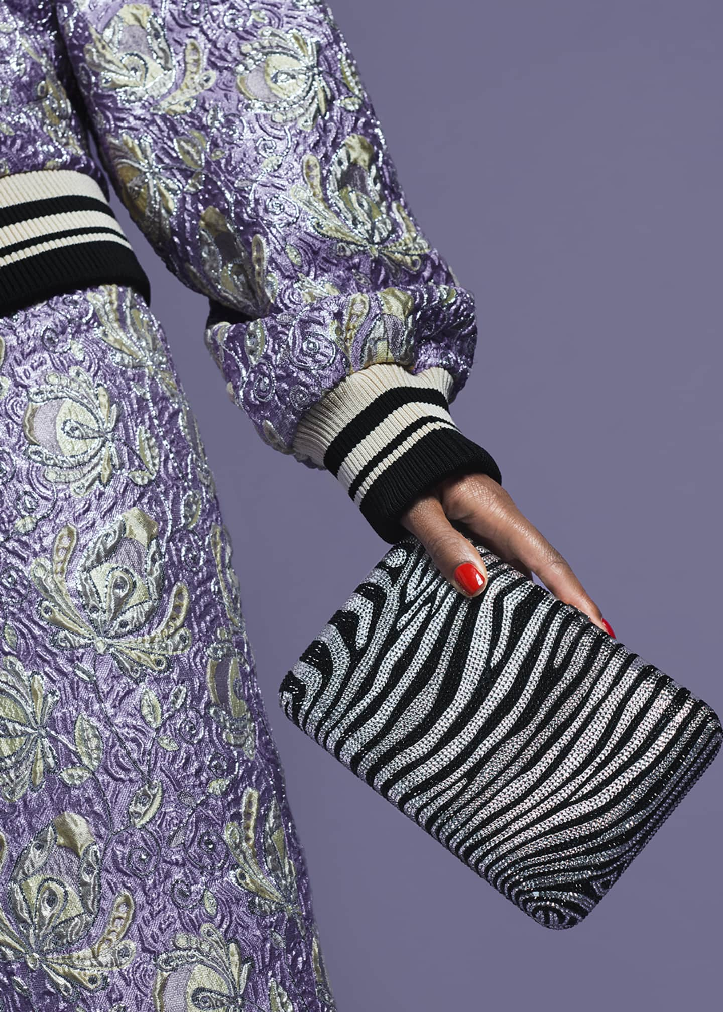 Image 2 of 6: Seamless Zebra Crystal Clutch Bag
