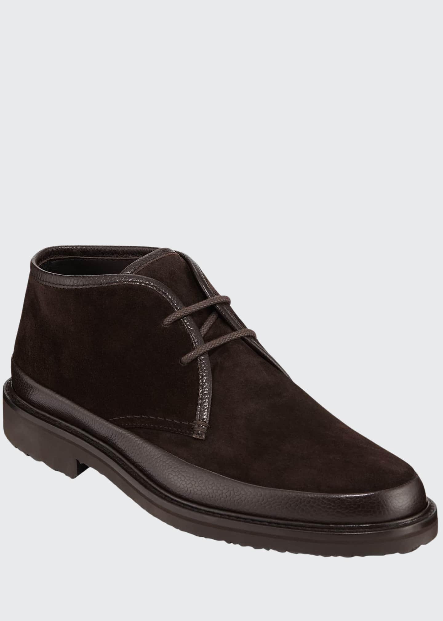 Ermenegildo Zegna Men's Trivero Leather-Trimmed Suede Chukka