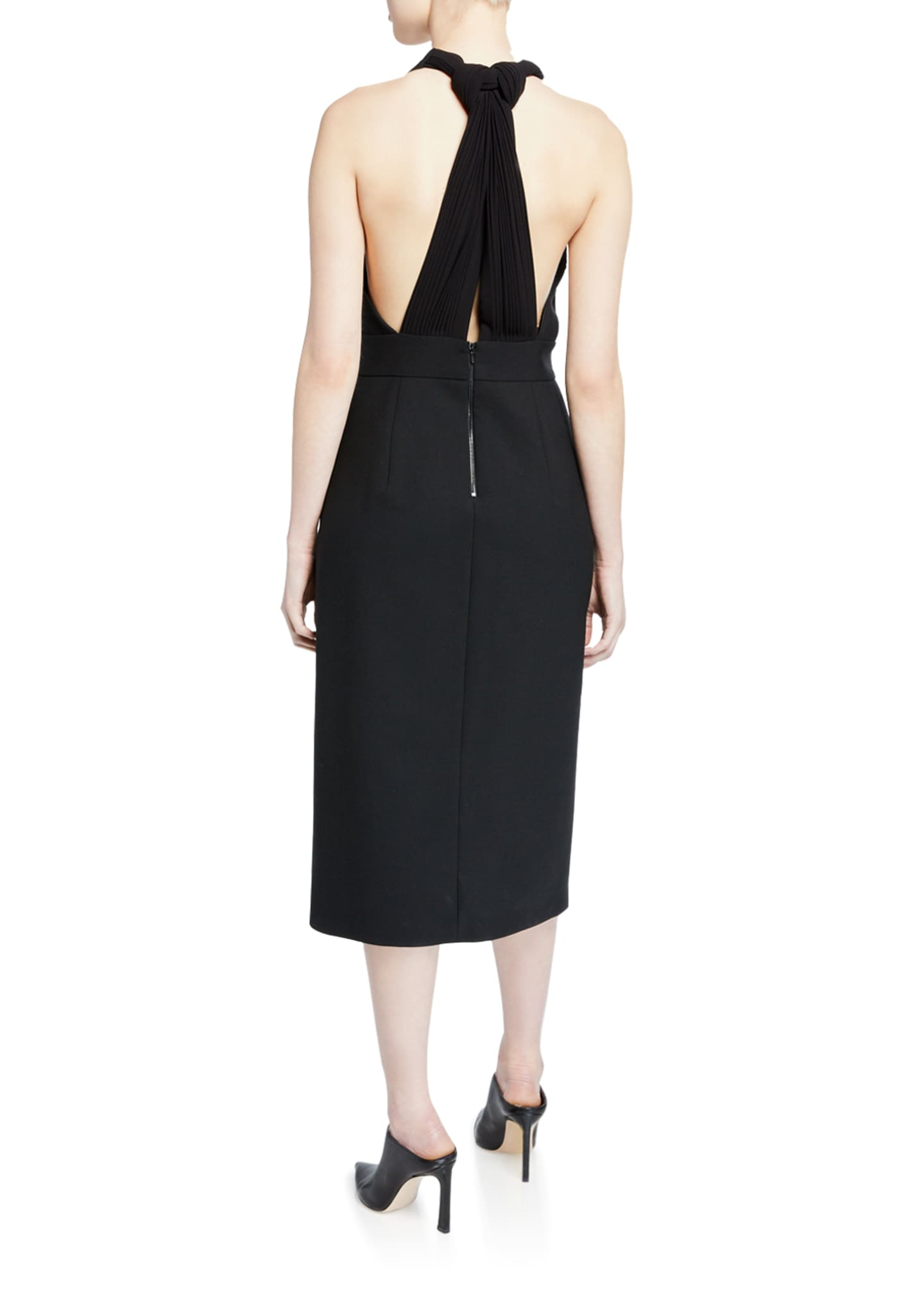 Image 2 of 2: Draped-Pleat Front Crepe Dress