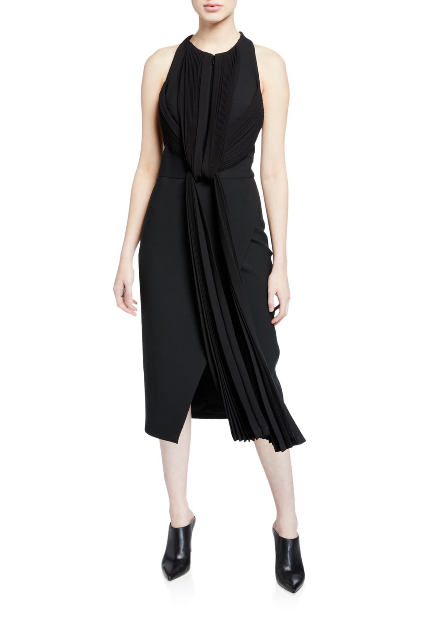 Draped-Pleat Front Crepe Dress