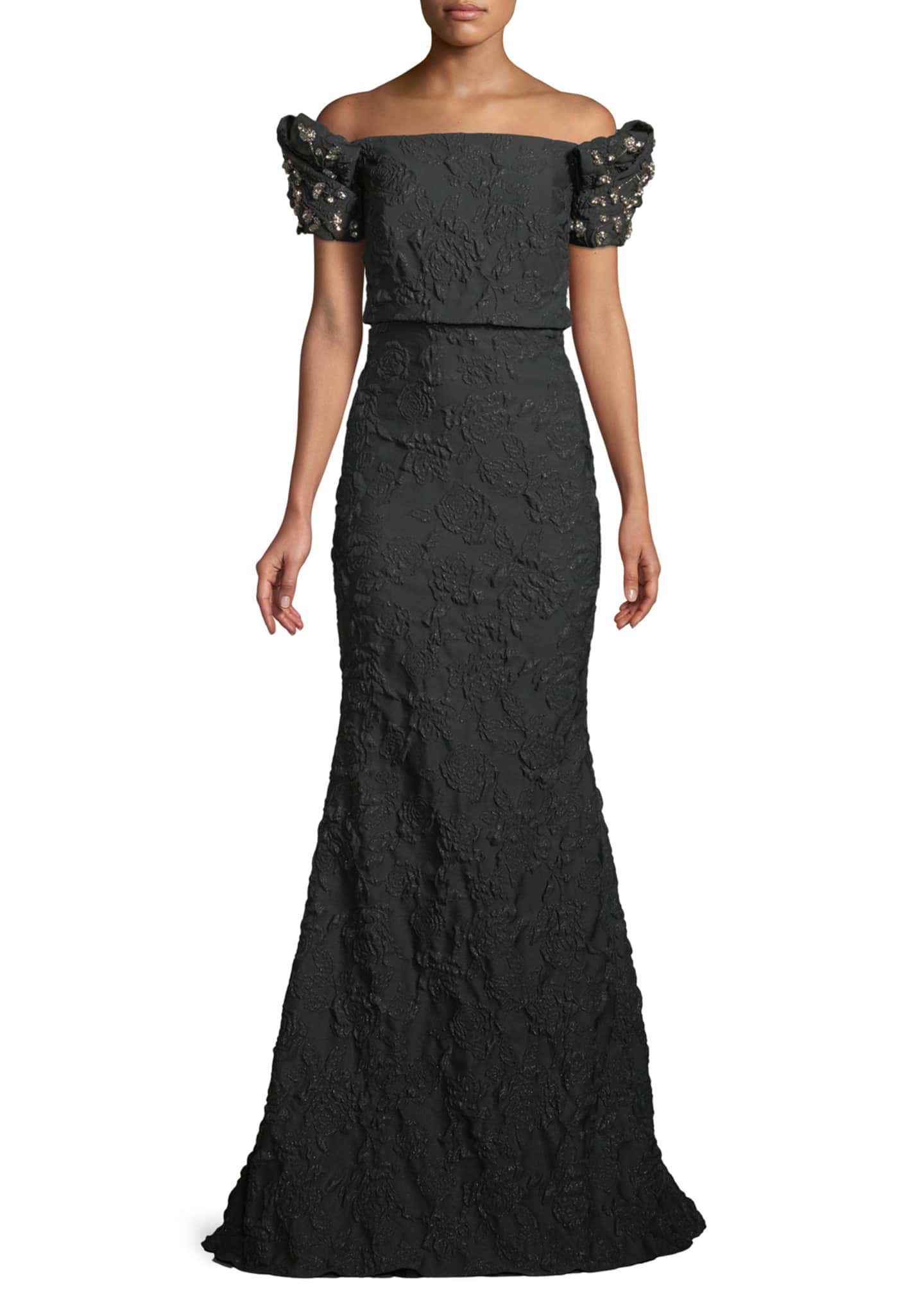 Badgley Mischka Collection Stretch Jacquard Trumpet Gown with