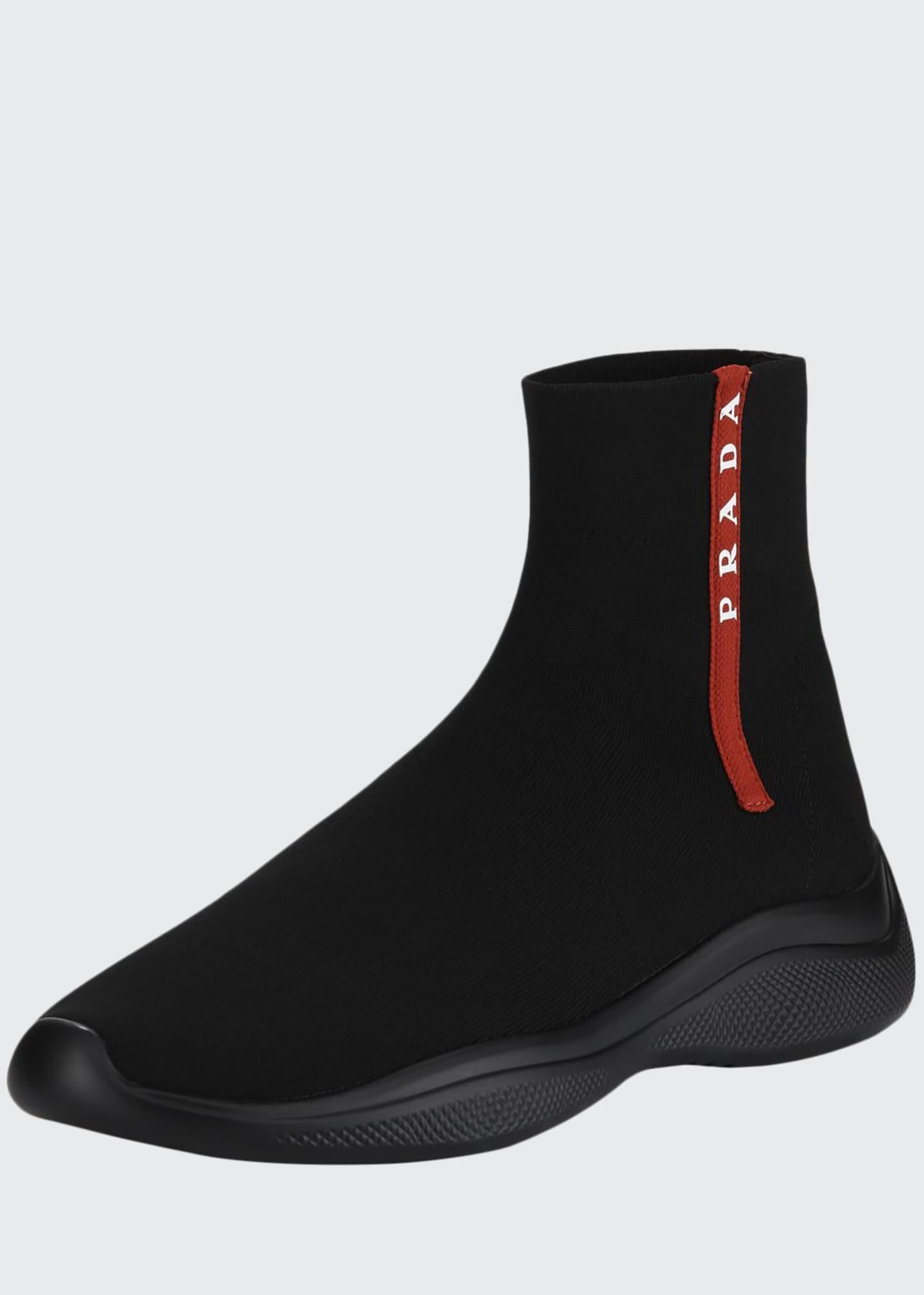 Prada Men's Sock-Boot Sneakers