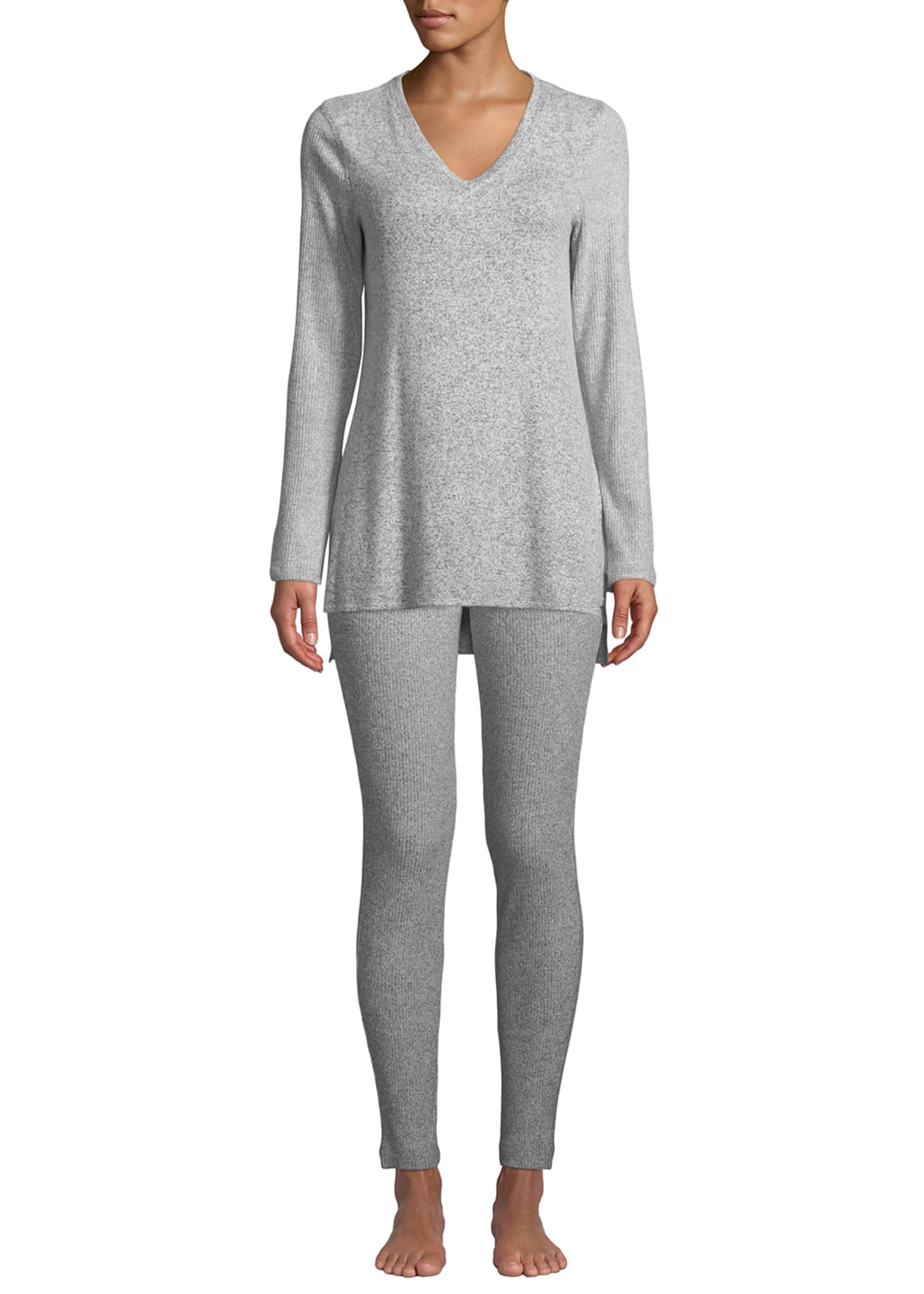 Image 3 of 3: Ulla Ribbed-Knit Lounge Leggings