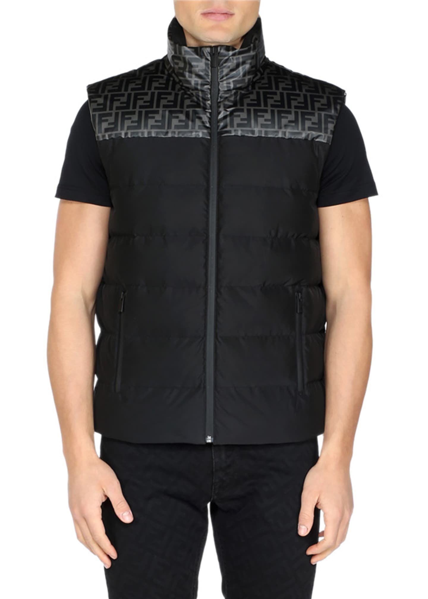 Fendi Men's FF Yoke Puffer Vest